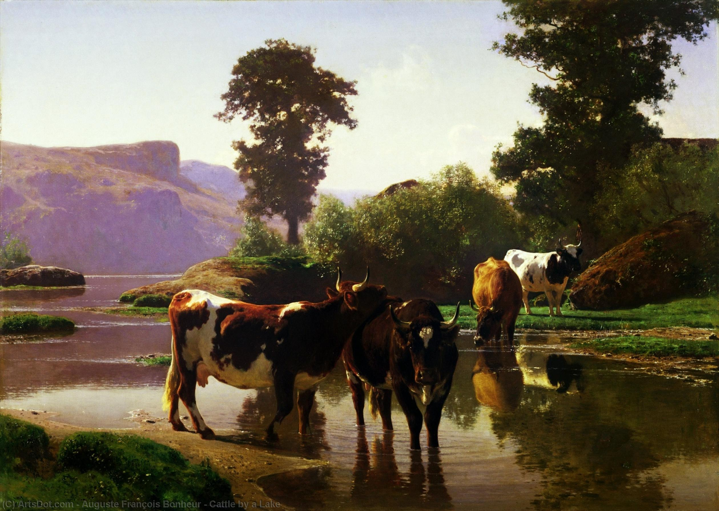 Cattle by a Lake by Auguste François Bonheur (1824-1884, France) | Museum Art Reproductions | ArtsDot.com
