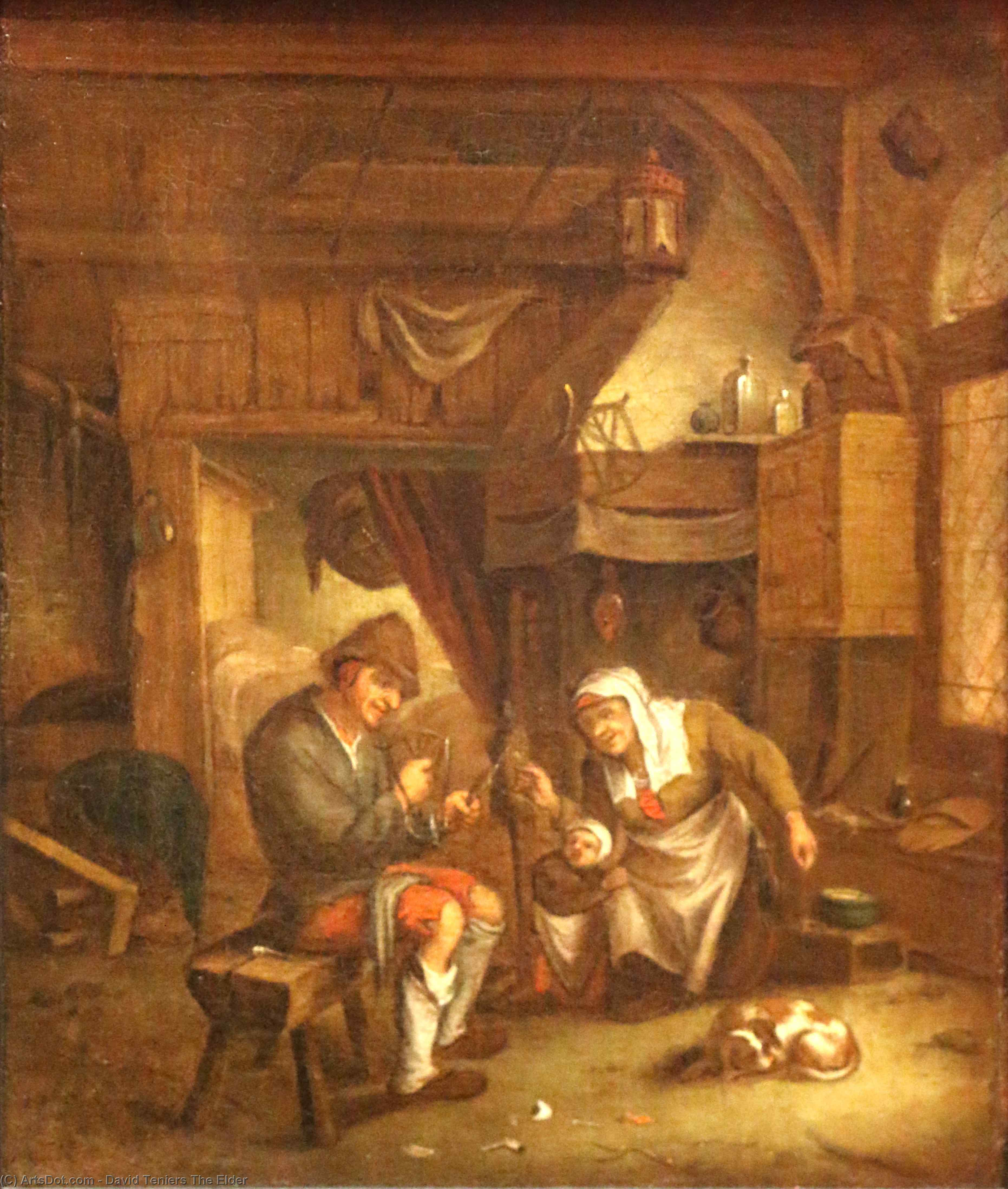 Dutch-old interior by David Teniers The Elder (1582-1649, Belgium)
