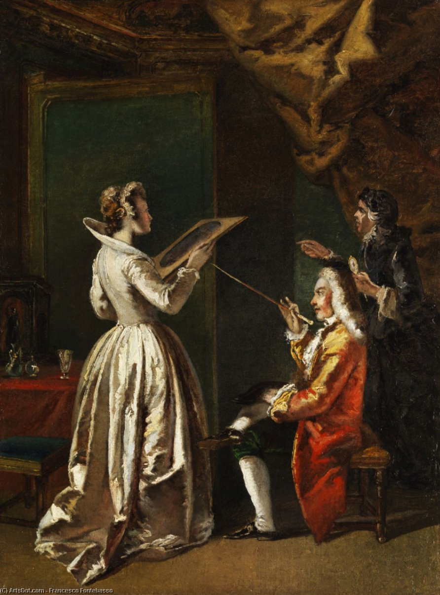 Lady looking at a work of art. by Francesco Fontebasso (1707-1769, Italy)