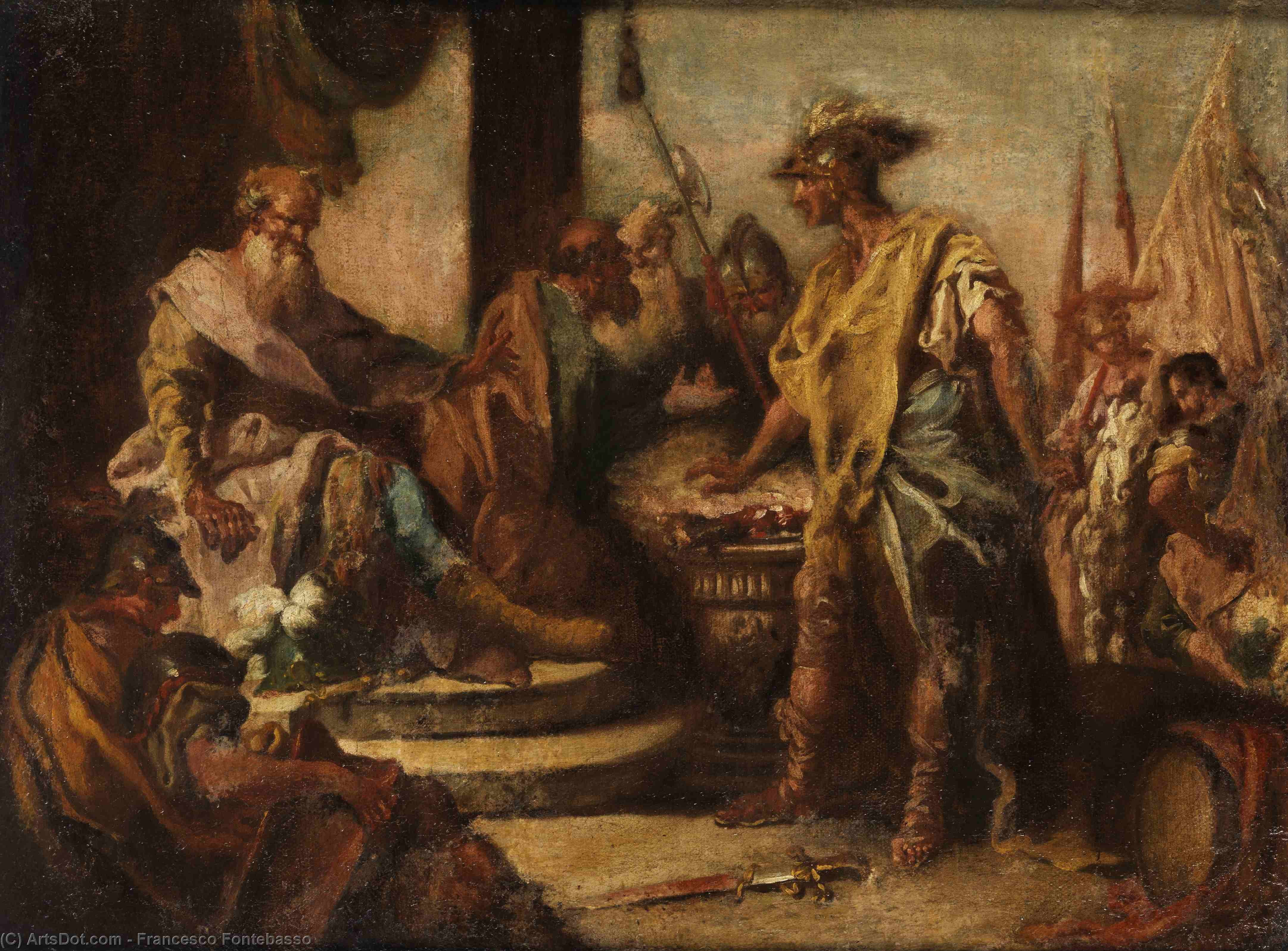 Mucius Scaevola puts his hand into the fire in front of the Etruscan prince Porsenna. by Francesco Fontebasso (1707-1769, Italy) | ArtsDot.com