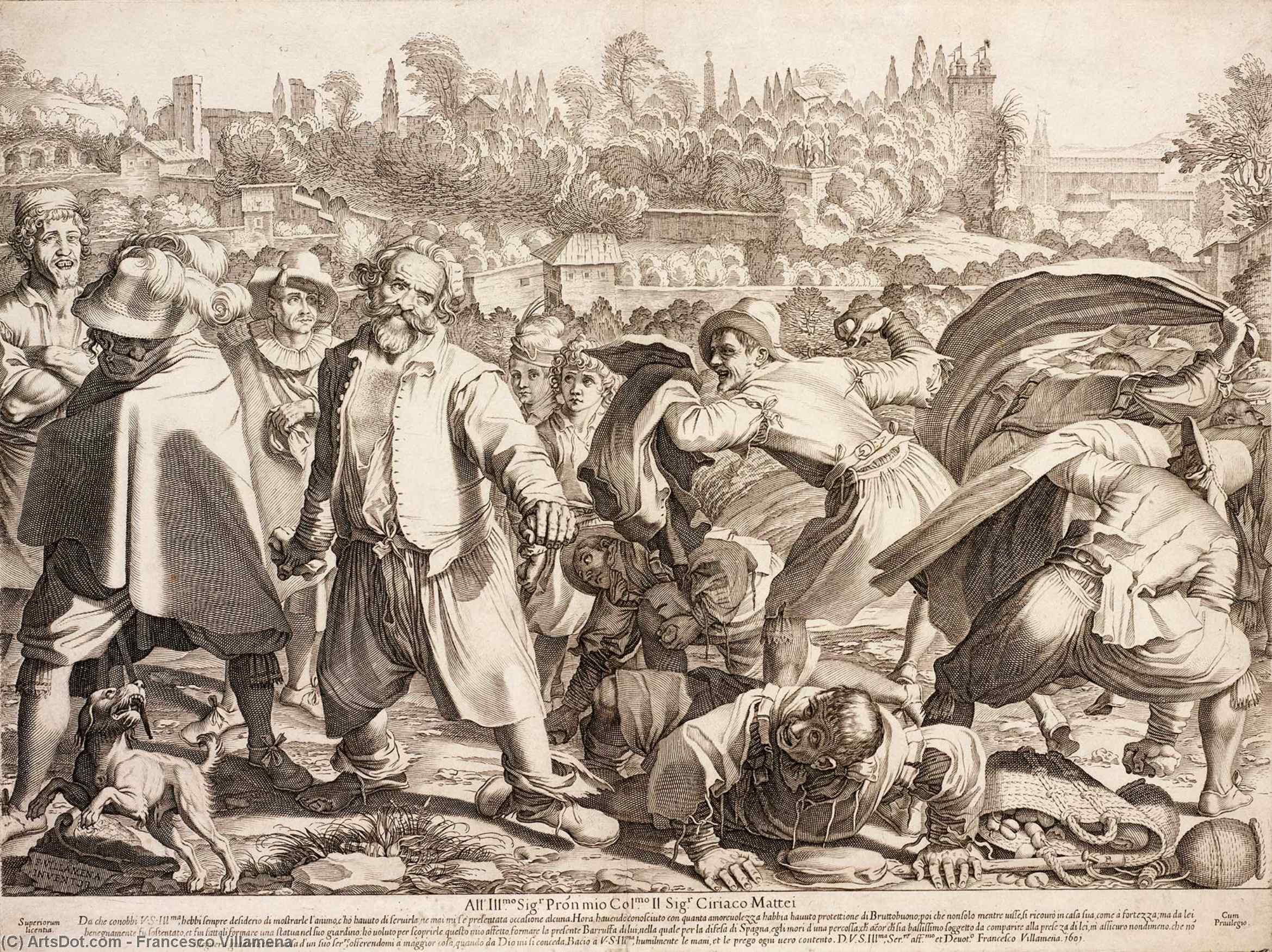 The Brawl of Bruttobuono by Francesco Villamena (1564-1624, Italy) | Reproductions Francesco Villamena | ArtsDot.com