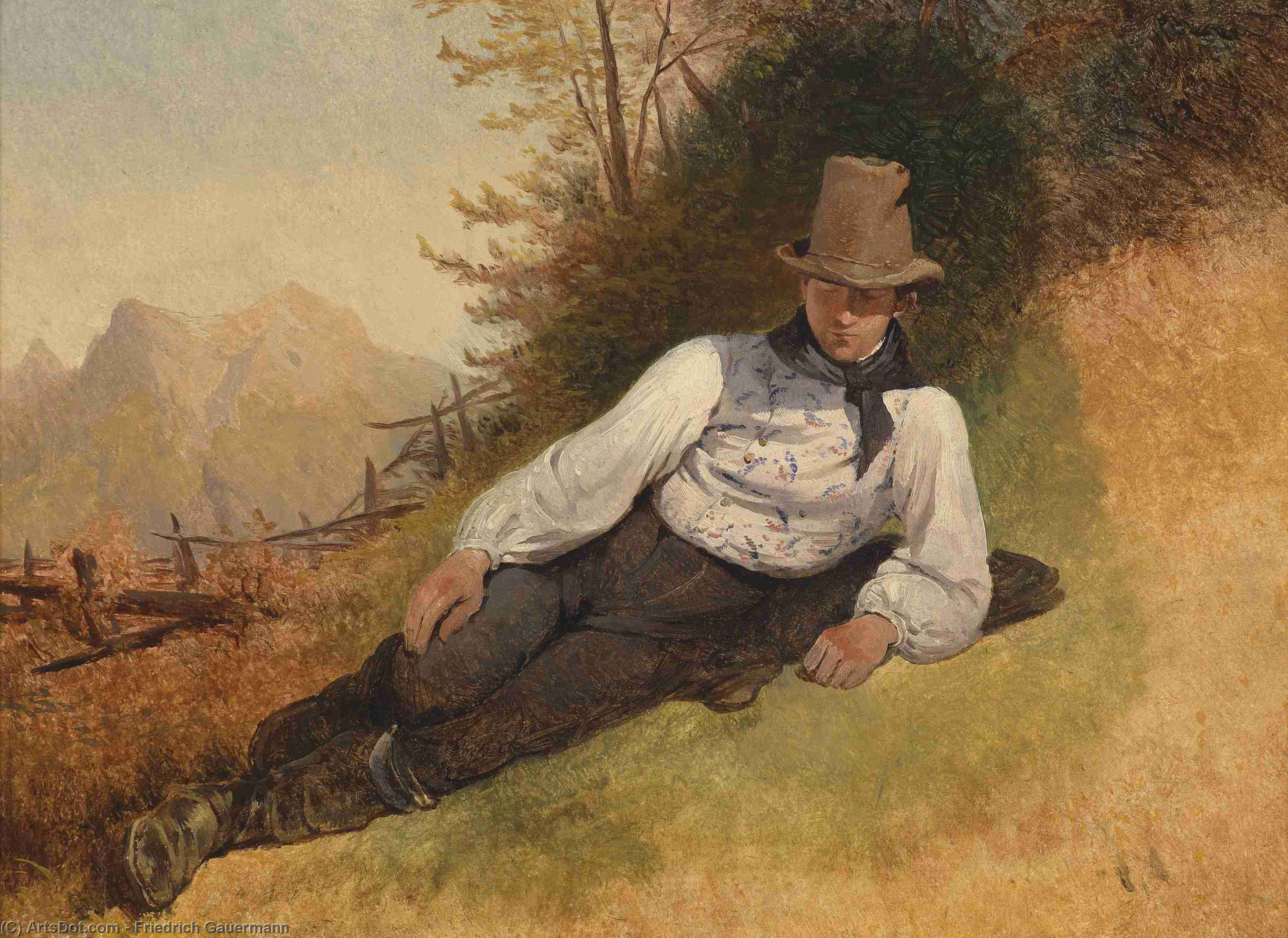 Portrait of a young farmer by Friedrich Gauermann (1807-1862, Austria)