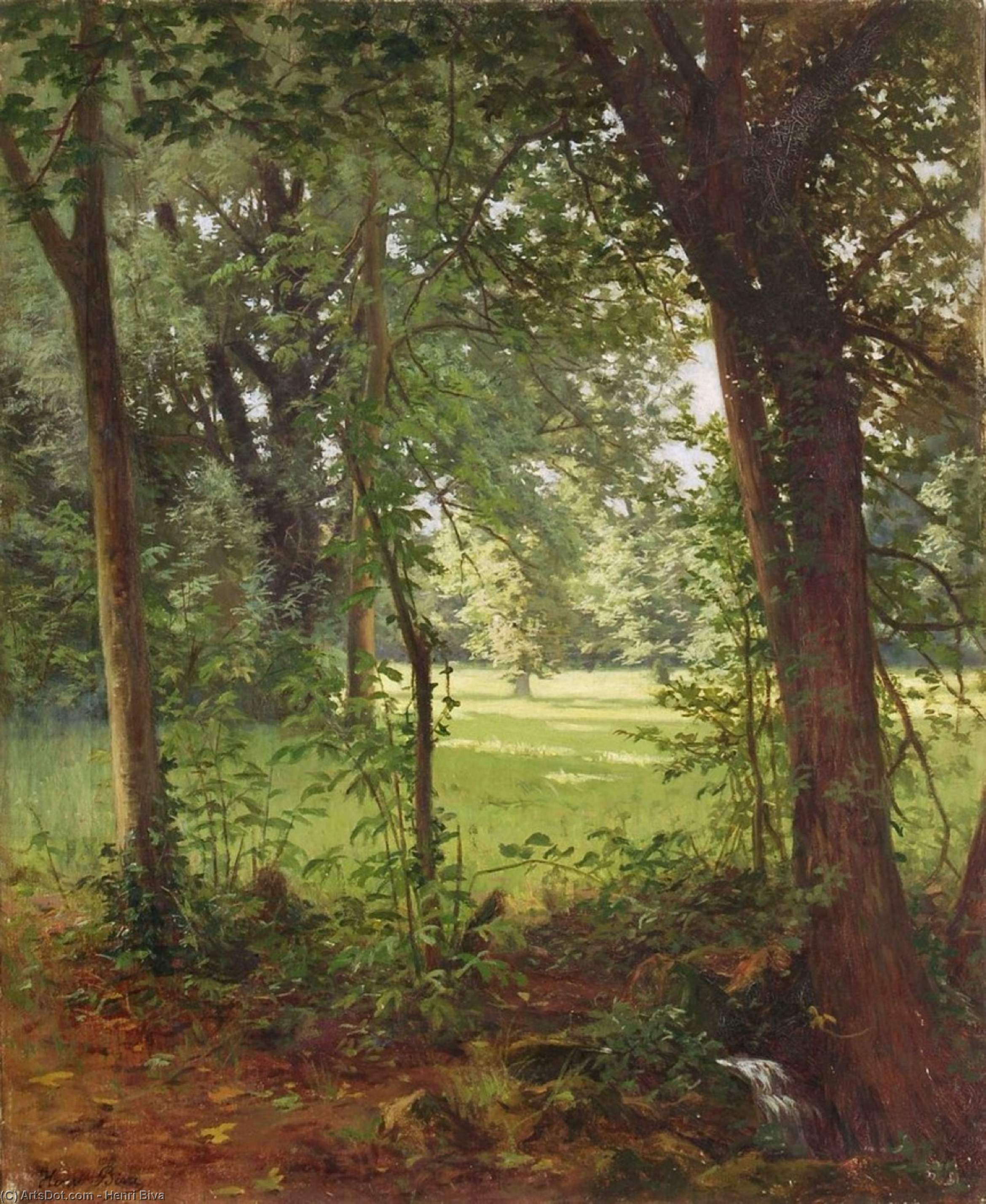 Forest in the spring by Henri Biva (1848-1929, France)