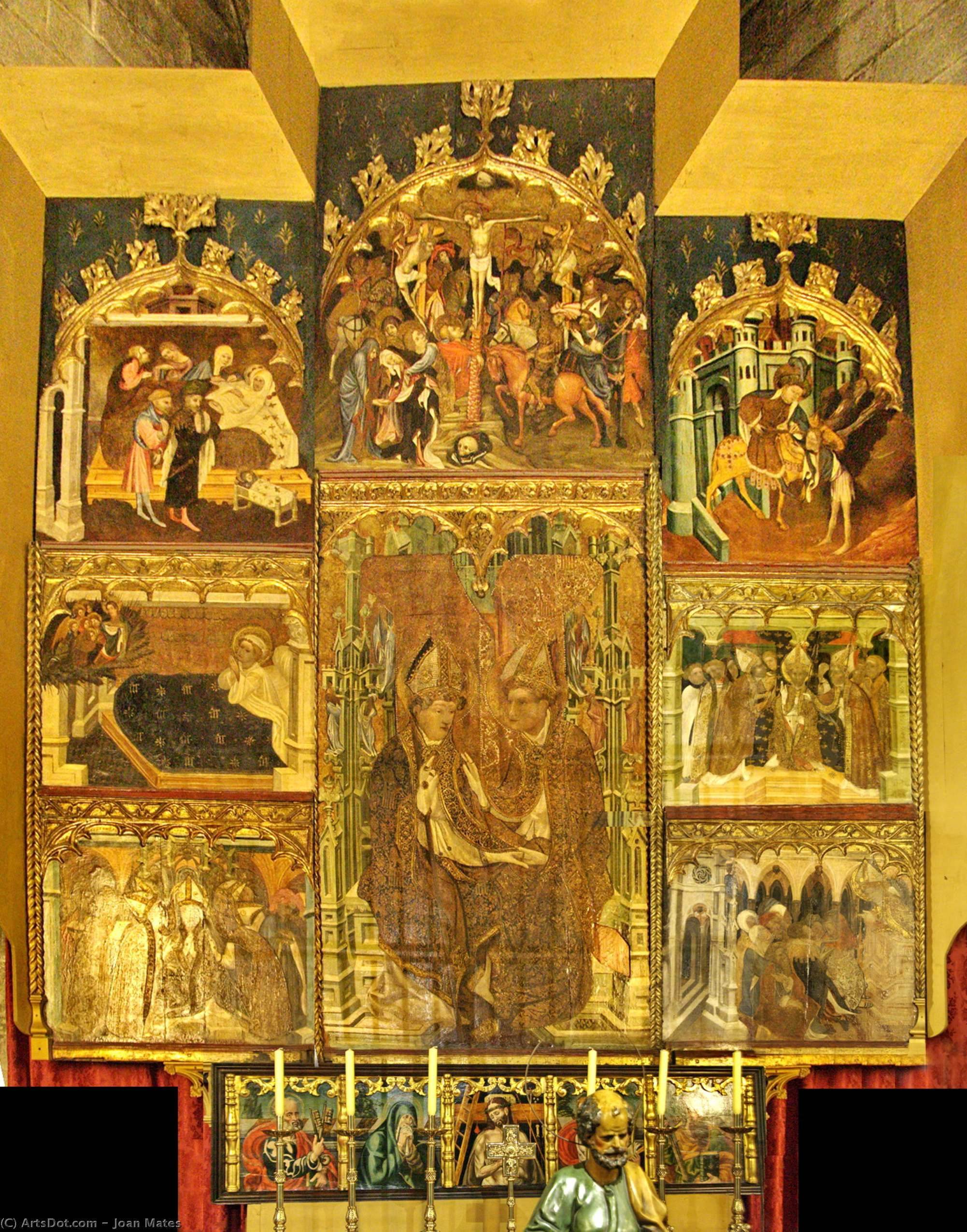 Altarpiece of Saint Martin of Tours and Saint Ambrose of Milan by Joan Mates (1370-1431, Spain)