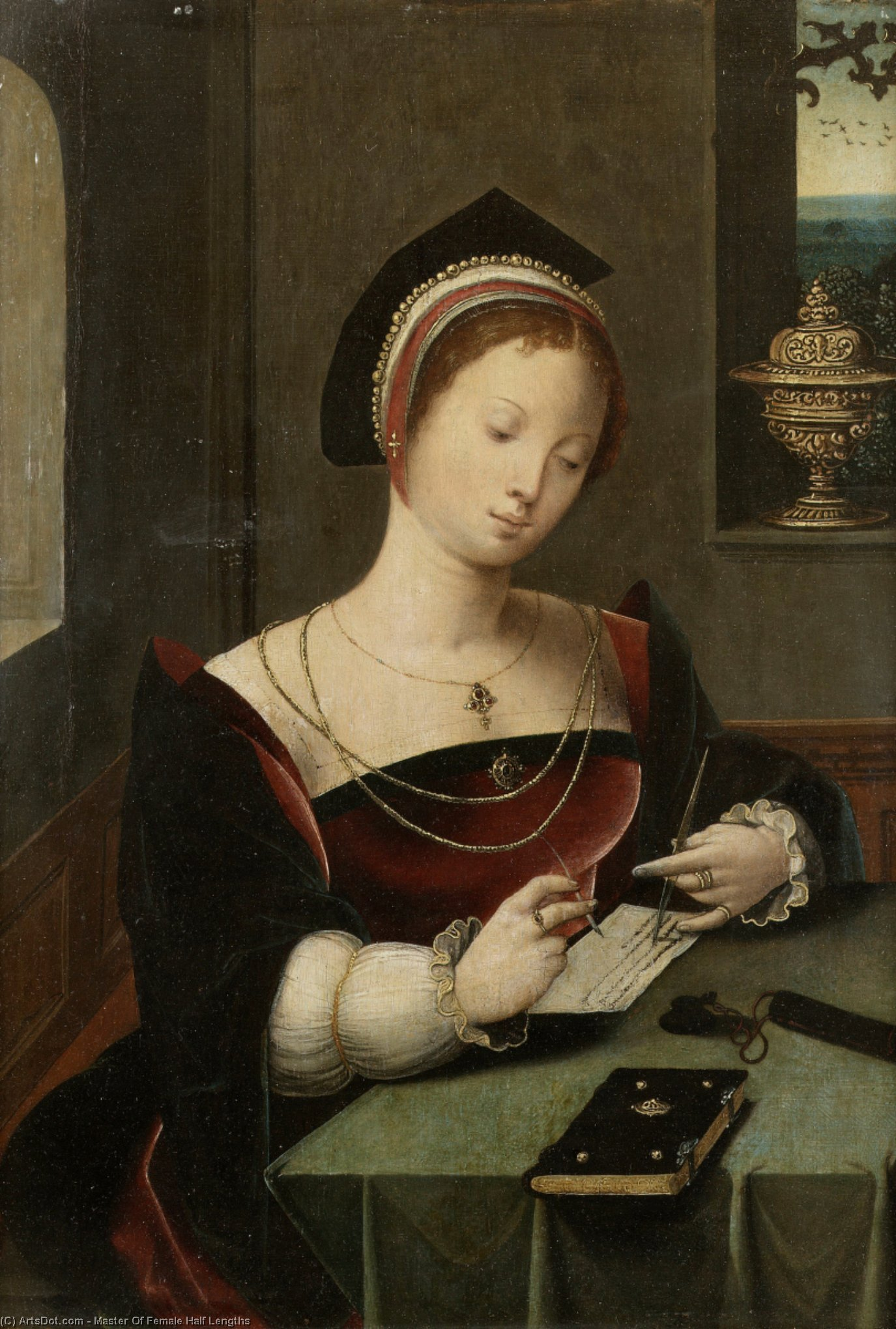 A woman as the Magdalen writing at a table in an interior. by Master Of Female Half Lengths | Oil Painting | ArtsDot.com
