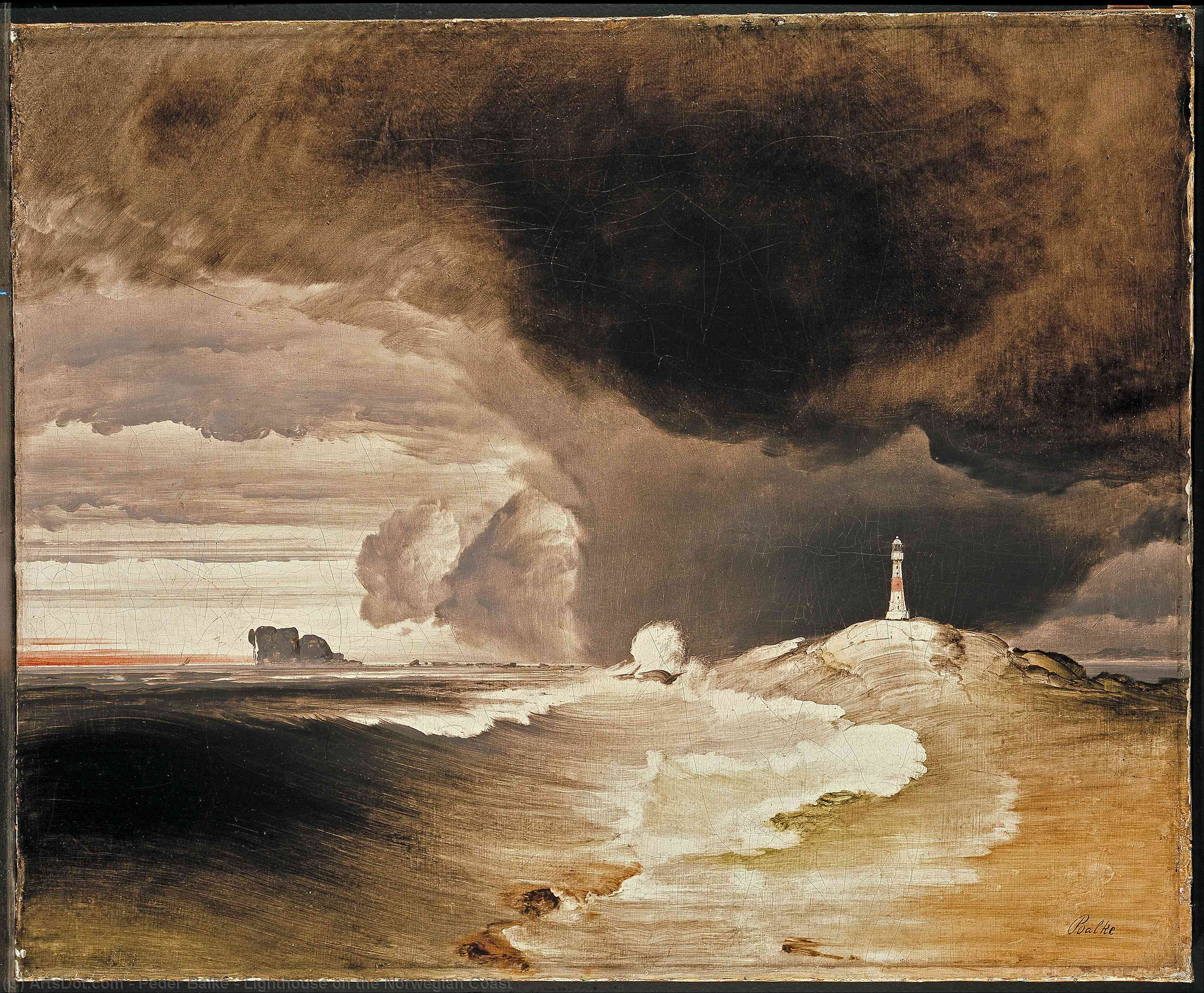 Lighthouse on the Norwegian Coast, 1855 by Peder Balke (1804-1887, Norway) | Museum Art Reproductions | ArtsDot.com