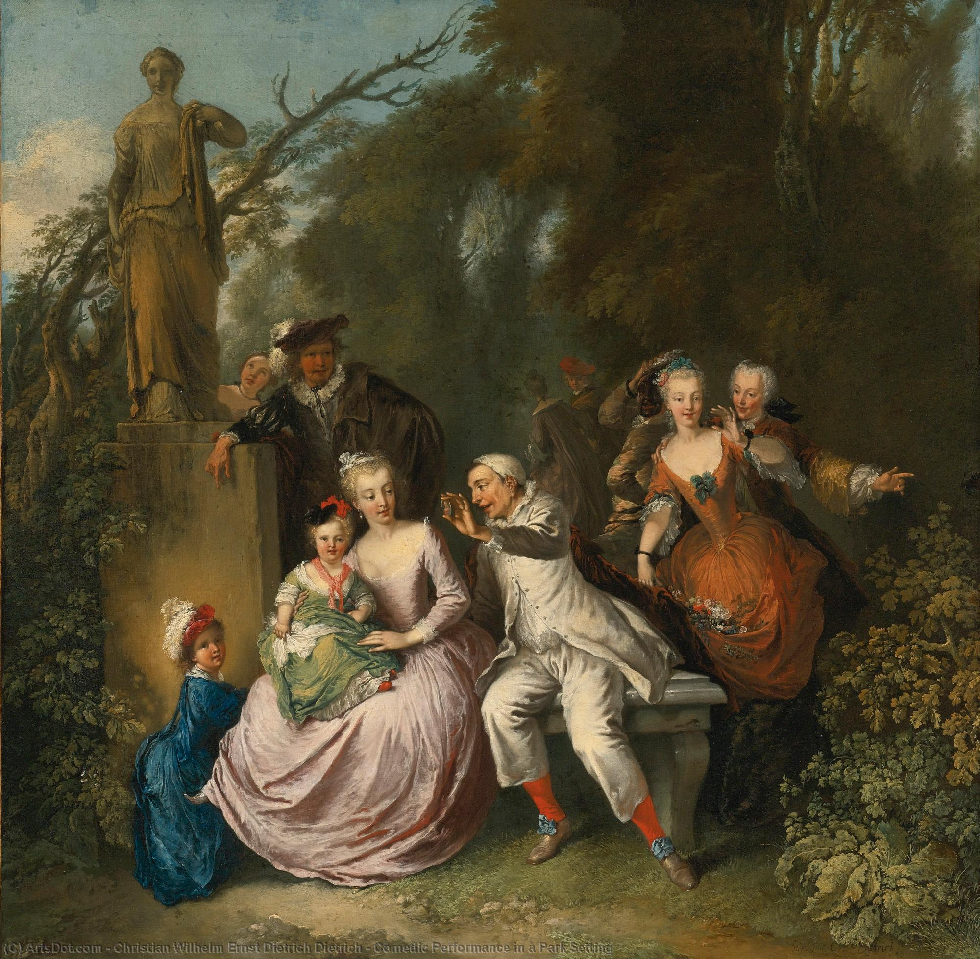 Buy Museum Art Reproductions : Comedic Performance in a Park Setting by Christian Wilhelm Ernst Dietrich Dietrich (1712-1774) | ArtsDot.com