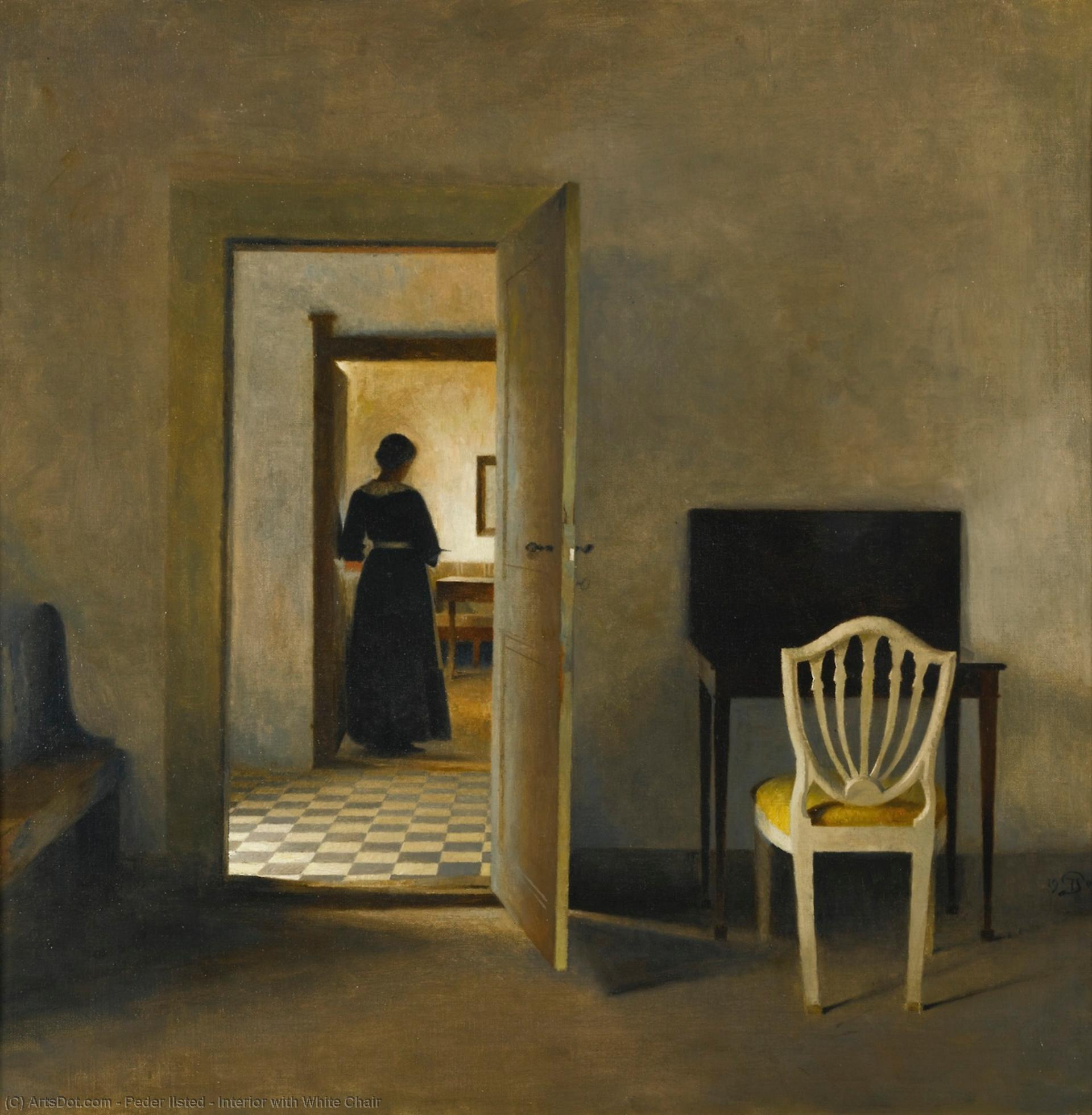 Interior with White Chair, 1907 by Peder Ilsted | Museum Art Reproductions | ArtsDot.com