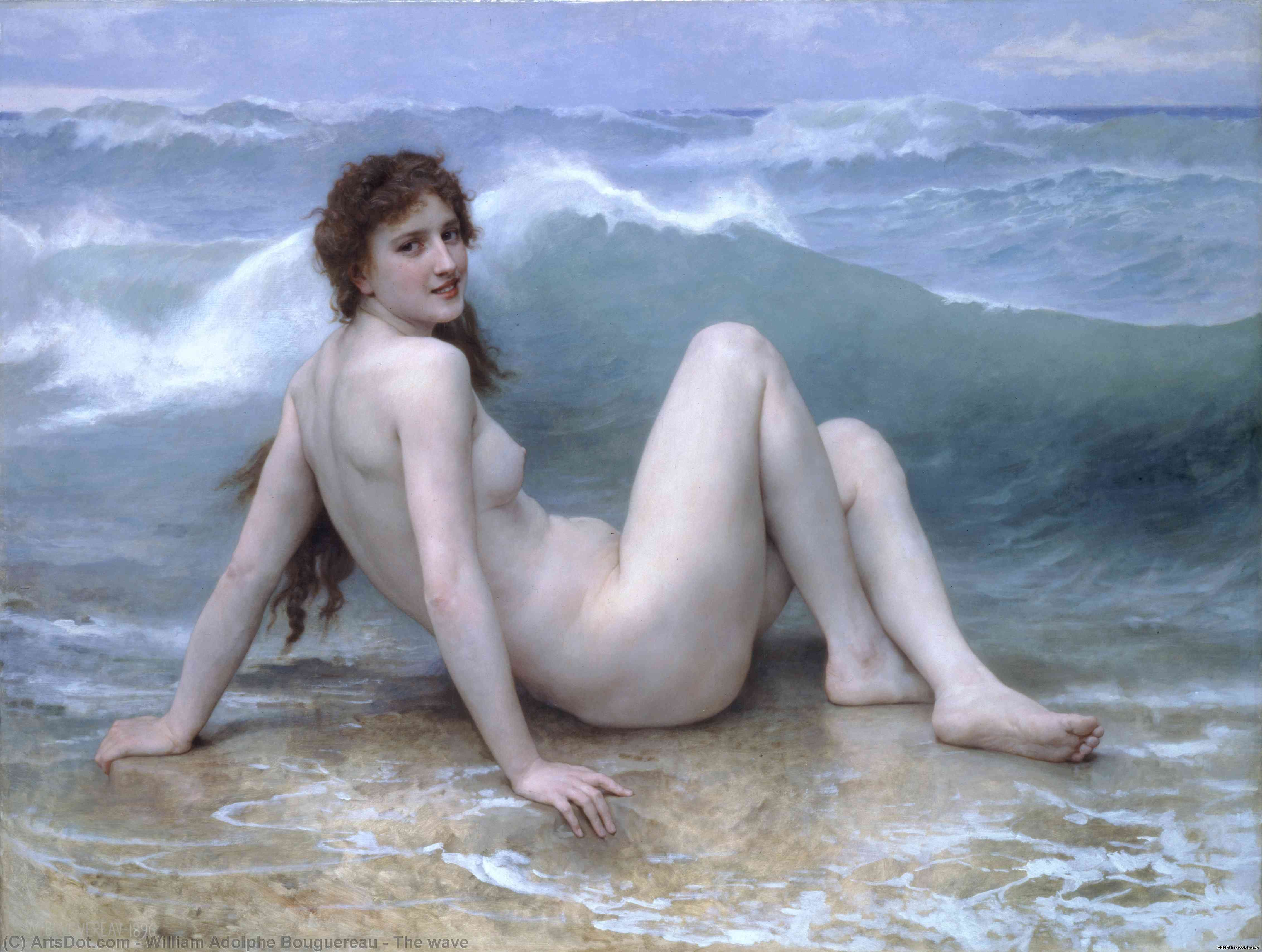 The wave, 1896 by William Adolphe Bouguereau (1825-1905, France) | Museum Quality Reproductions | ArtsDot.com