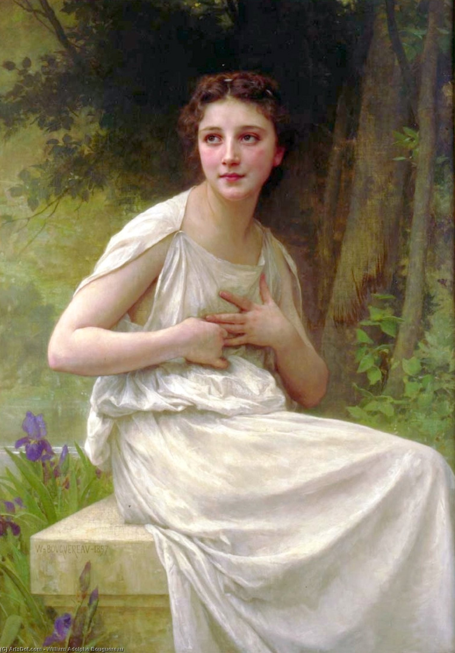 Buy Museum Art Reproductions : Reflexion by William Adolphe Bouguereau (1825-1905, France) | ArtsDot.com