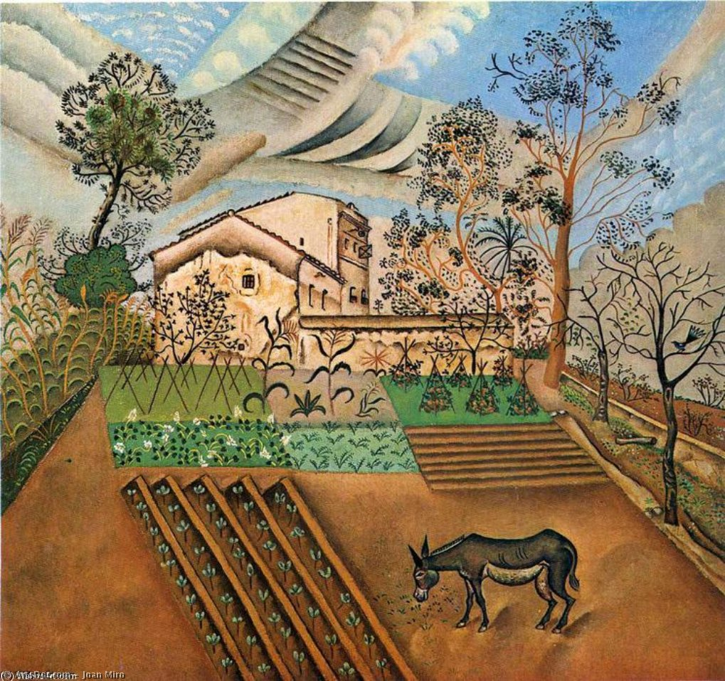 The Vegetable Garden with Donkey, Oil On Canvas by Joan Miro (1893-1937, Spain)
