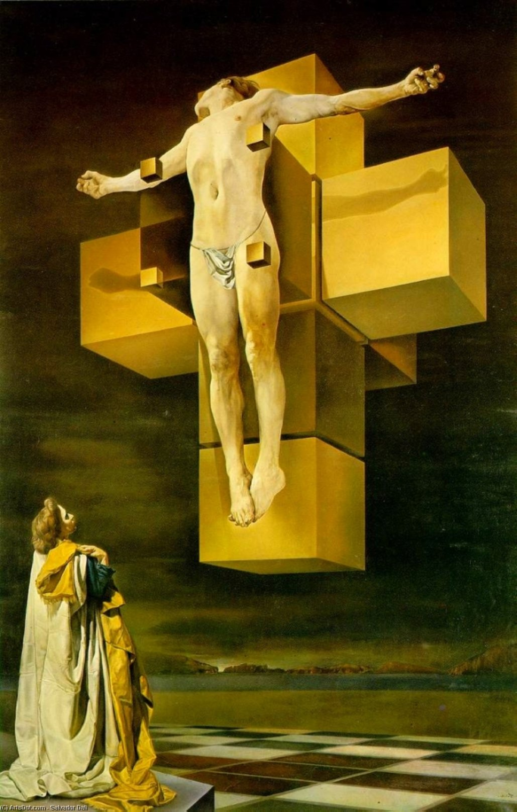 Crucifixion (Hypercubic Body), 1954 by Salvador Dali (1938-1989, Spain) |  | ArtsDot.com