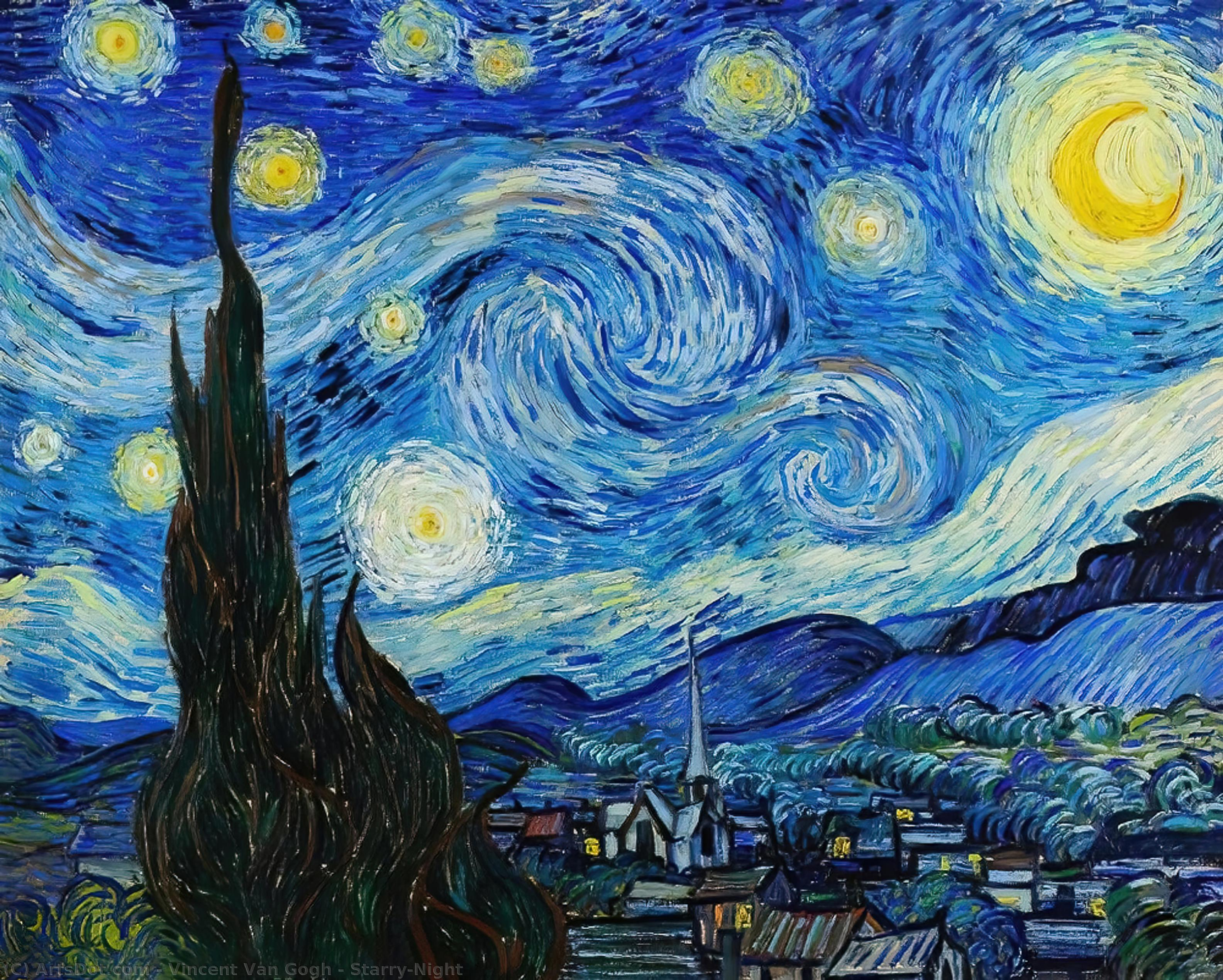Buy Museum Art Reproductions | Starry-Night, 1889 by Vincent Van Gogh (1853-1890, Netherlands) | ArtsDot.com