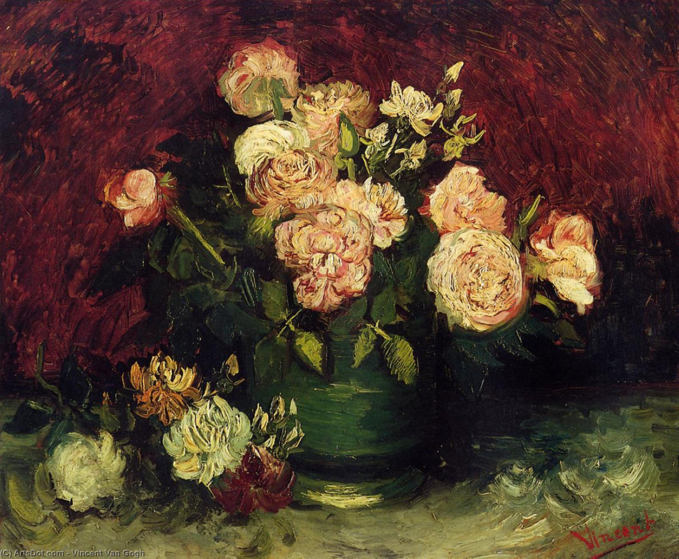 Bowl with Peonies and Roses, 1886 by Vincent Van Gogh (1853-1890, Netherlands) | Oil Painting | ArtsDot.com