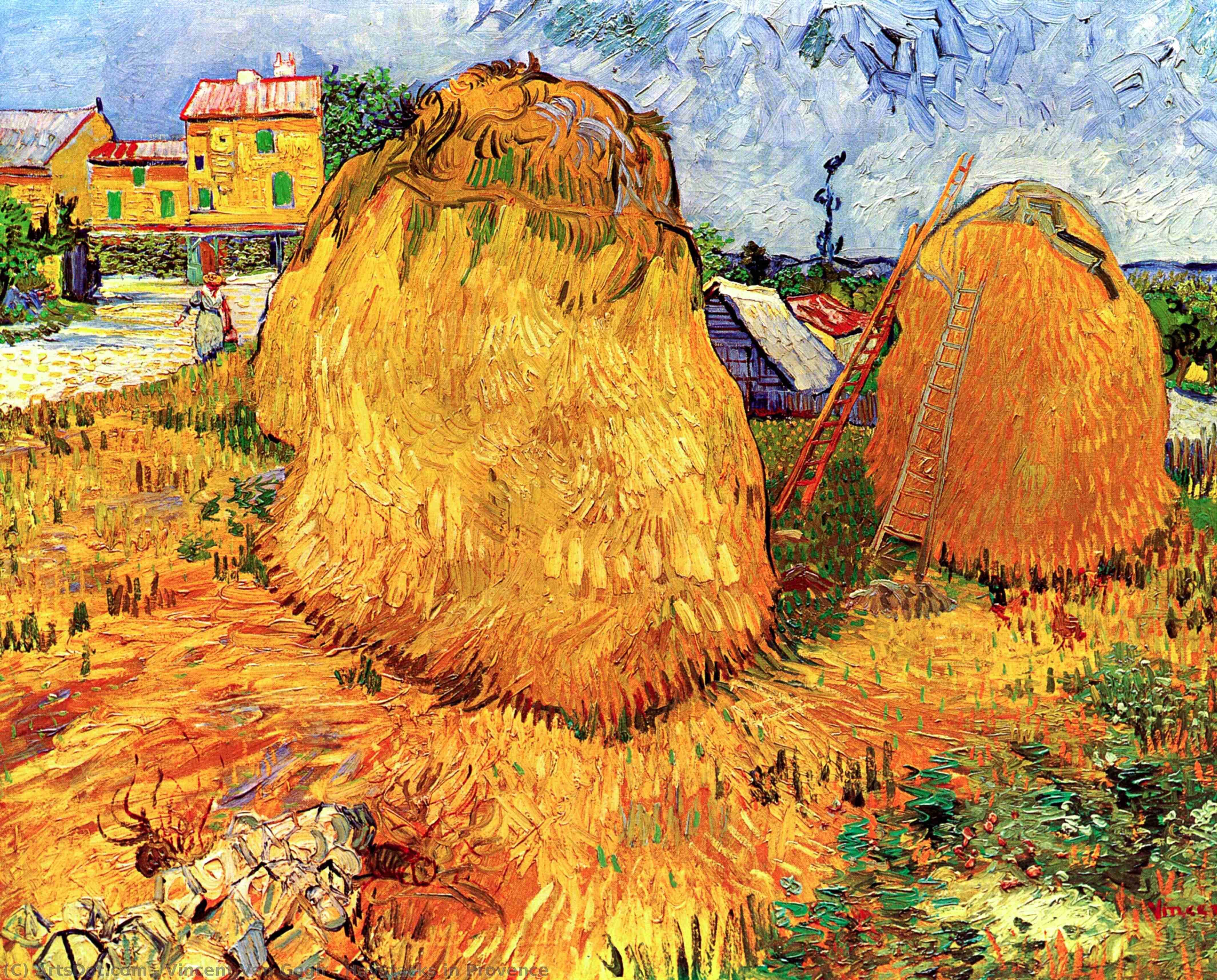 Order Museum Quality Copies | Haystacks in Provence, 1888 by Vincent Van Gogh (1853-1890, Netherlands) | ArtsDot.com