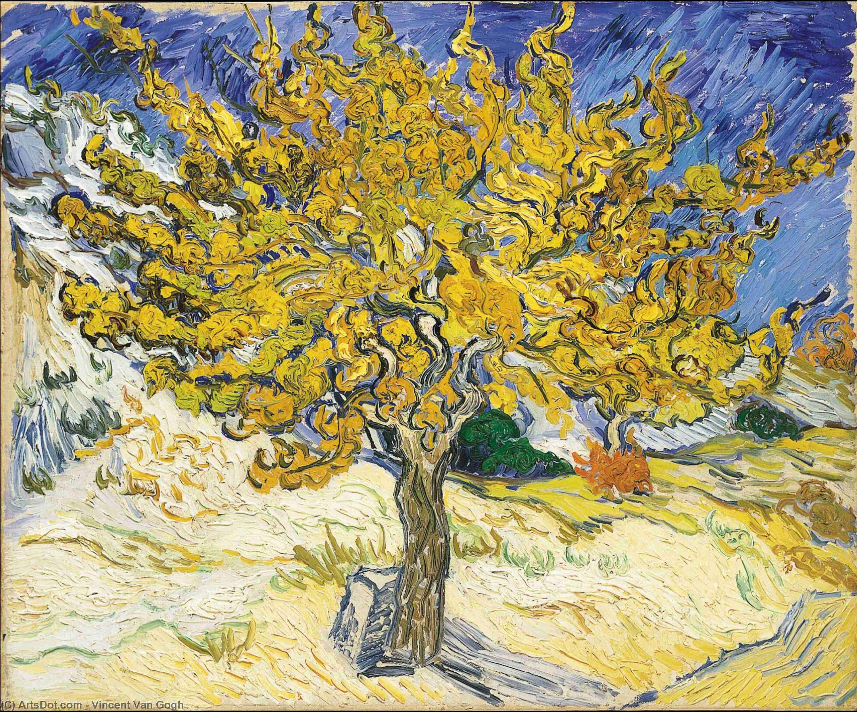 Mulberry Tree, The, 1889 by Vincent Van Gogh (1853-1890, Netherlands) | Paintings Reproductions Vincent Van Gogh | ArtsDot.com