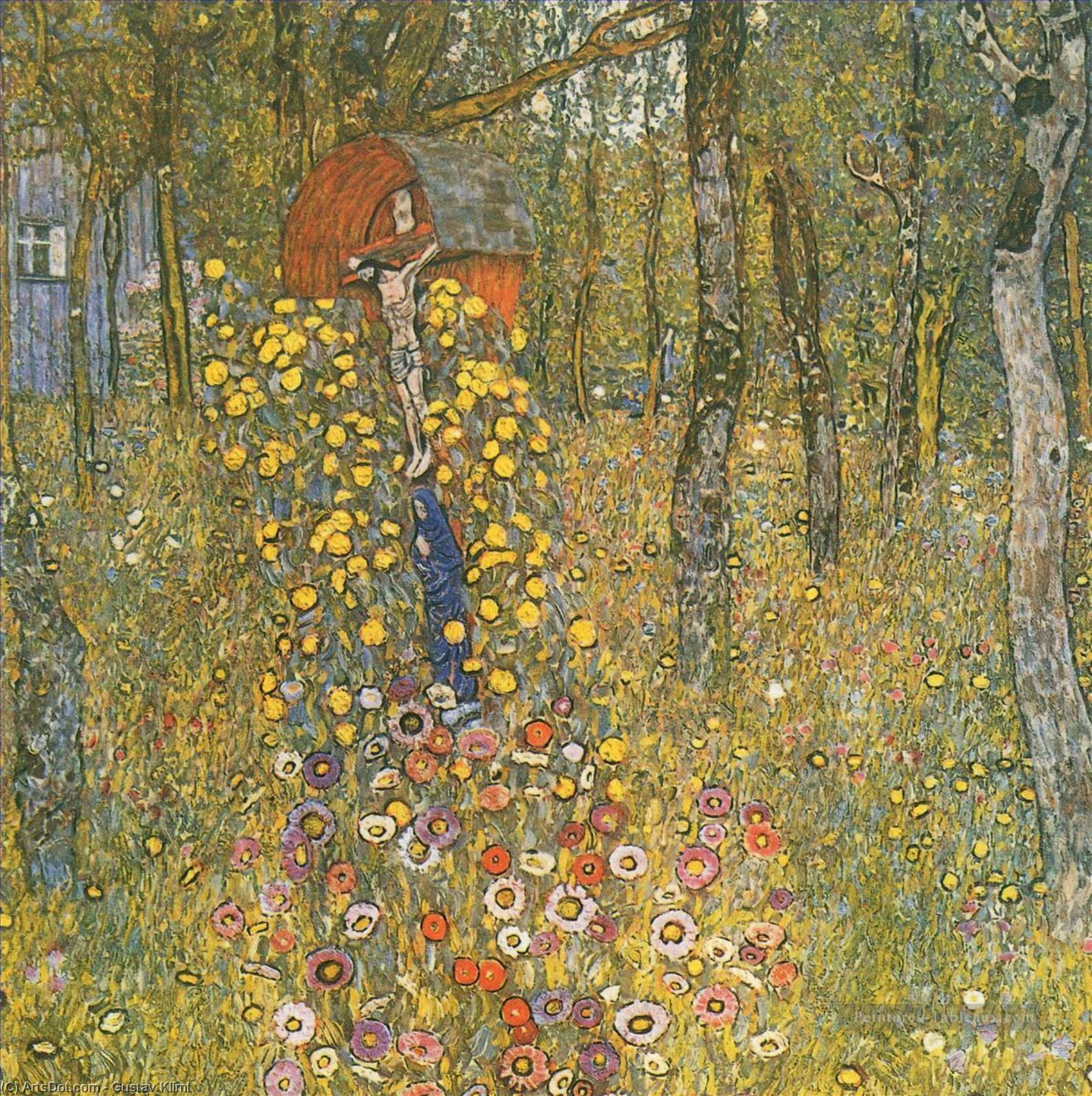 Order Paintings Reproductions | Farm Garden with Crucifix, 1911 by Gustav Klimt (1862-1918, Austria) | ArtsDot.com