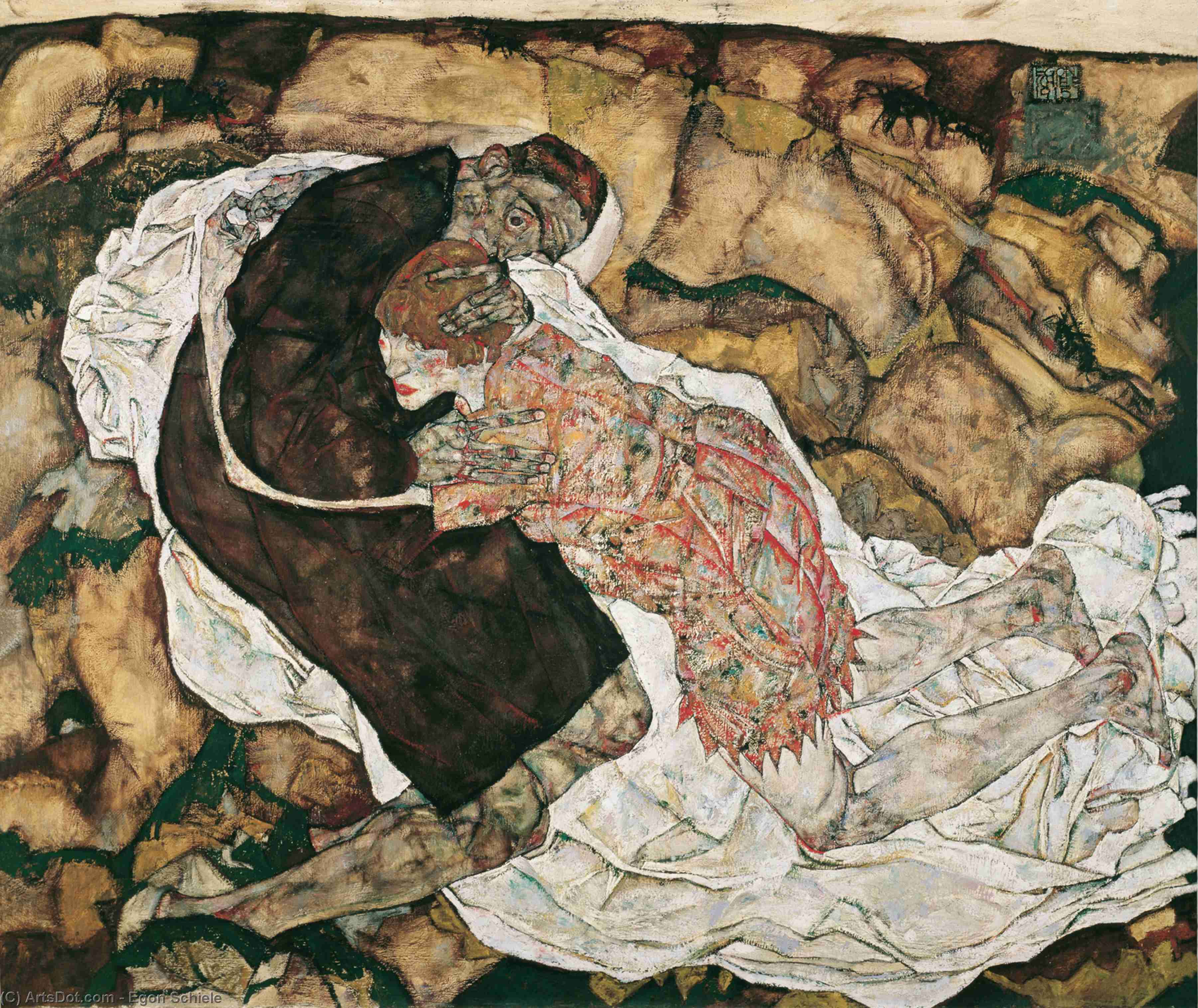Death and the Maiden, 1915 by Egon Schiele (1890-1918, Croatia) | Oil Painting | ArtsDot.com