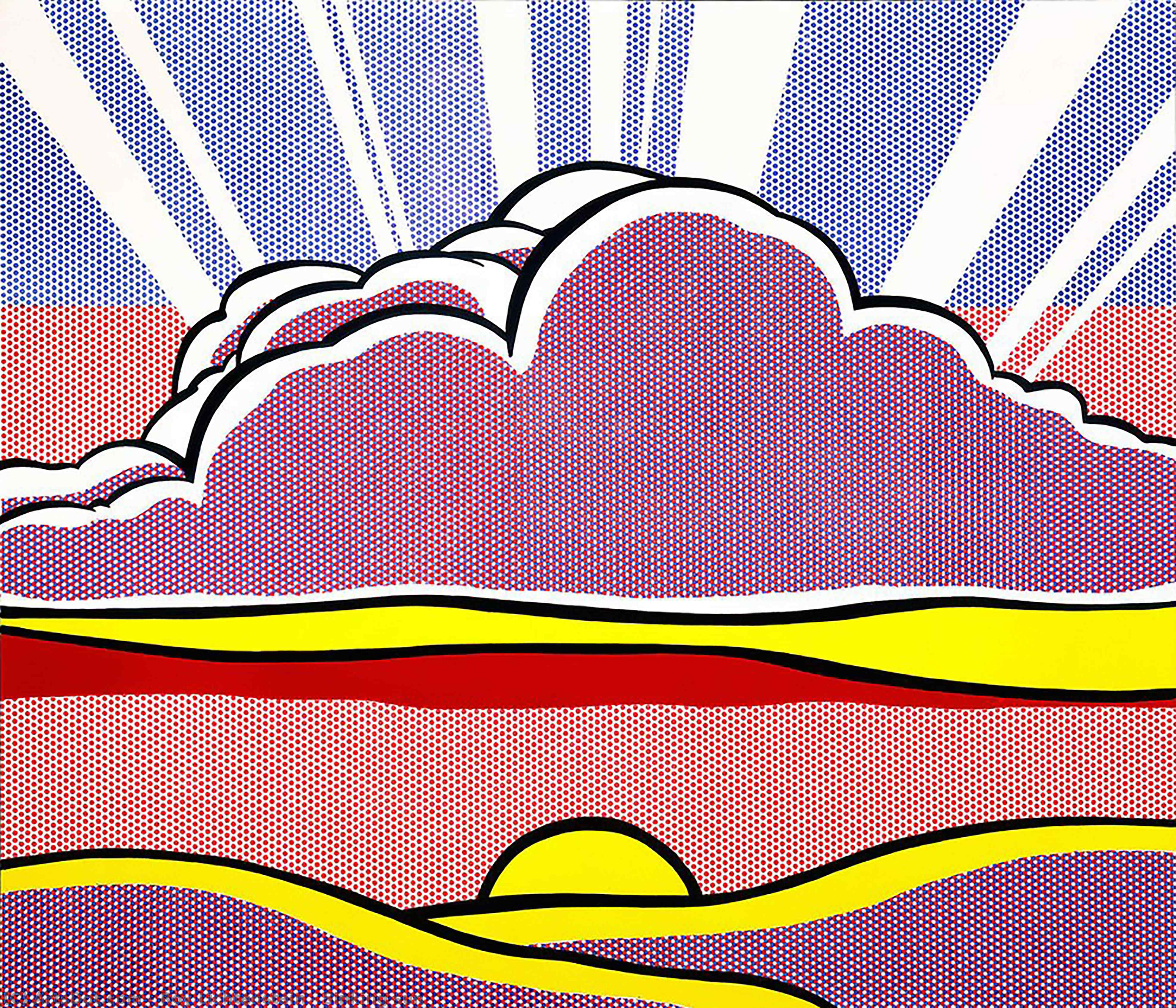 Sinking sun, 1964 by Roy Lichtenstein (1923-1997, United States) | Museum Art Reproductions | ArtsDot.com