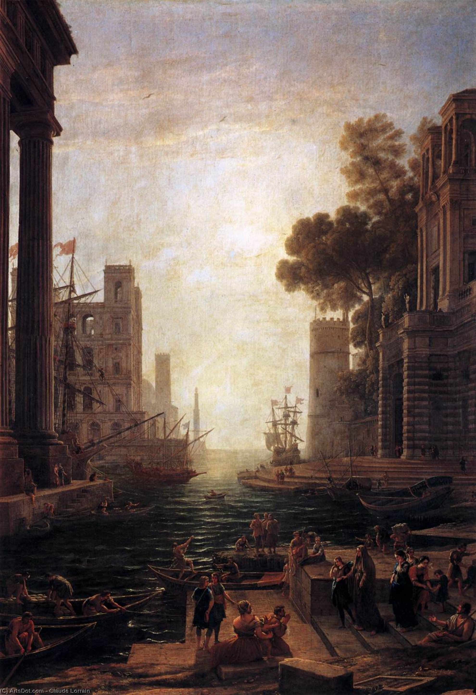 Embarkation of St Paula Romana at Ostia, Oil On Canvas by Claude Lorrain (Claude Gellée)