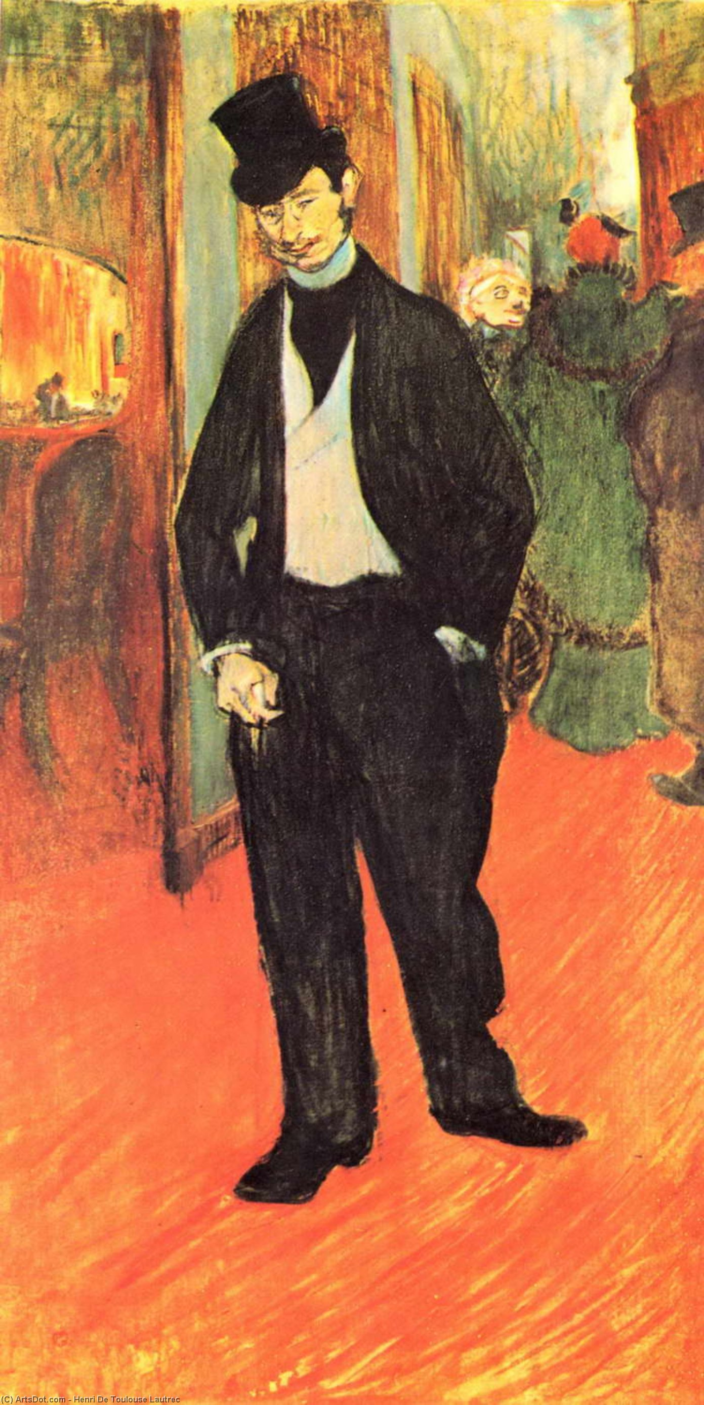 Gabriel Tapié de Céleyran at the Comédie Française, Oil by Henri De Toulouse Lautrec (1864-1901, France)