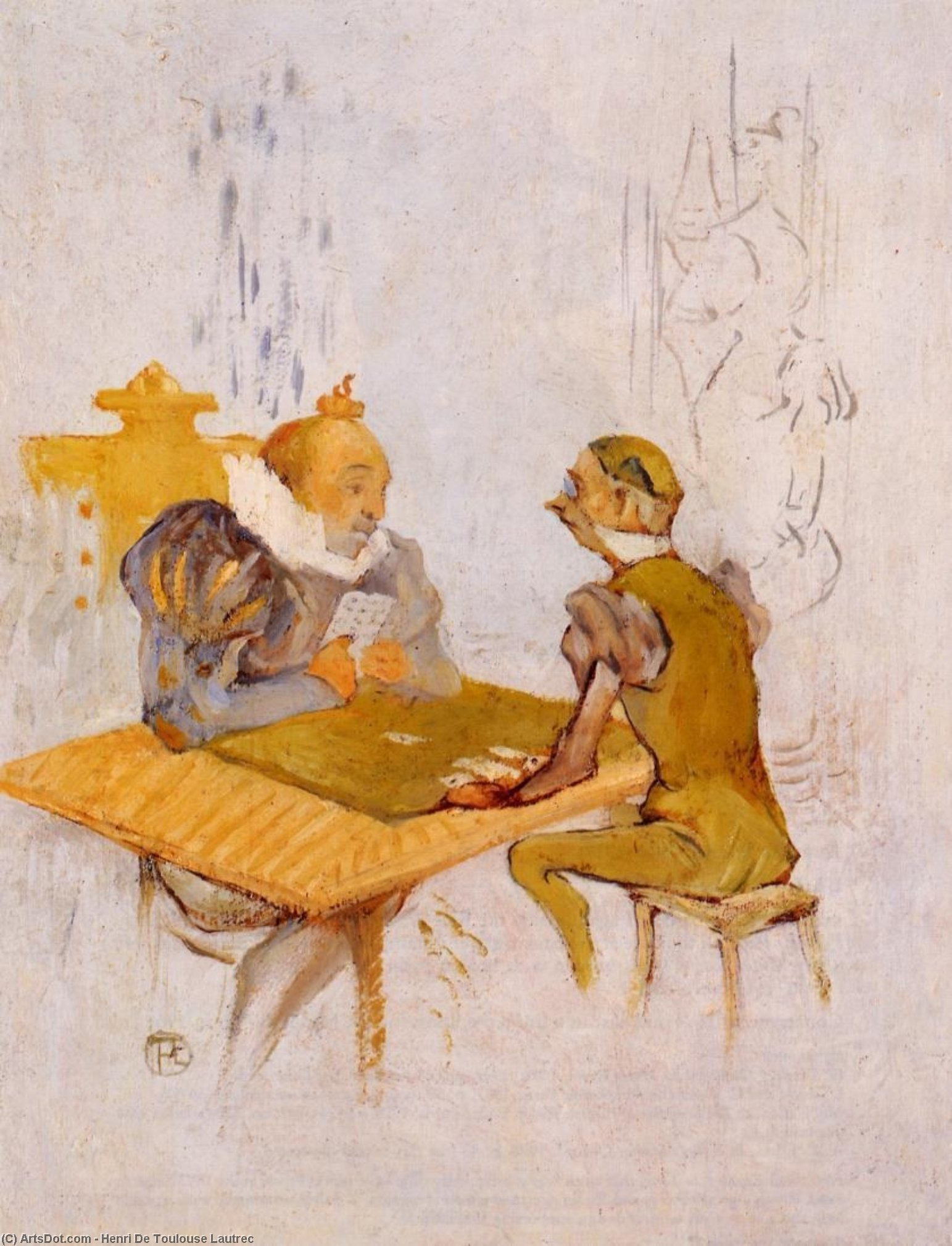 Le Belle et la Bete - Le Besigue, Oil On Panel by Henri De Toulouse Lautrec (1864-1901, France)