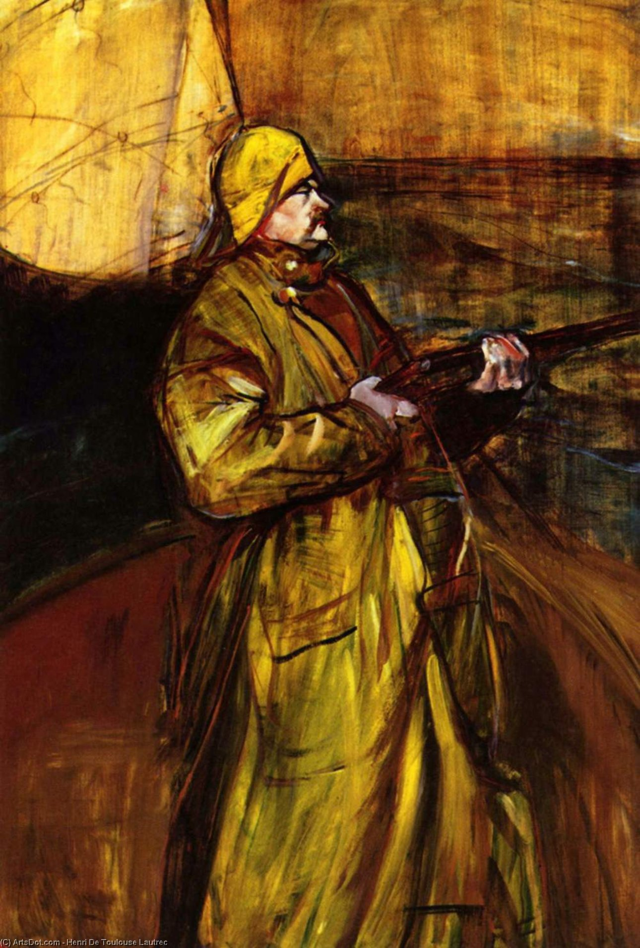 Maurice Joyant In A Summer Bay, Oil by Henri De Toulouse Lautrec (1864-1901, France)
