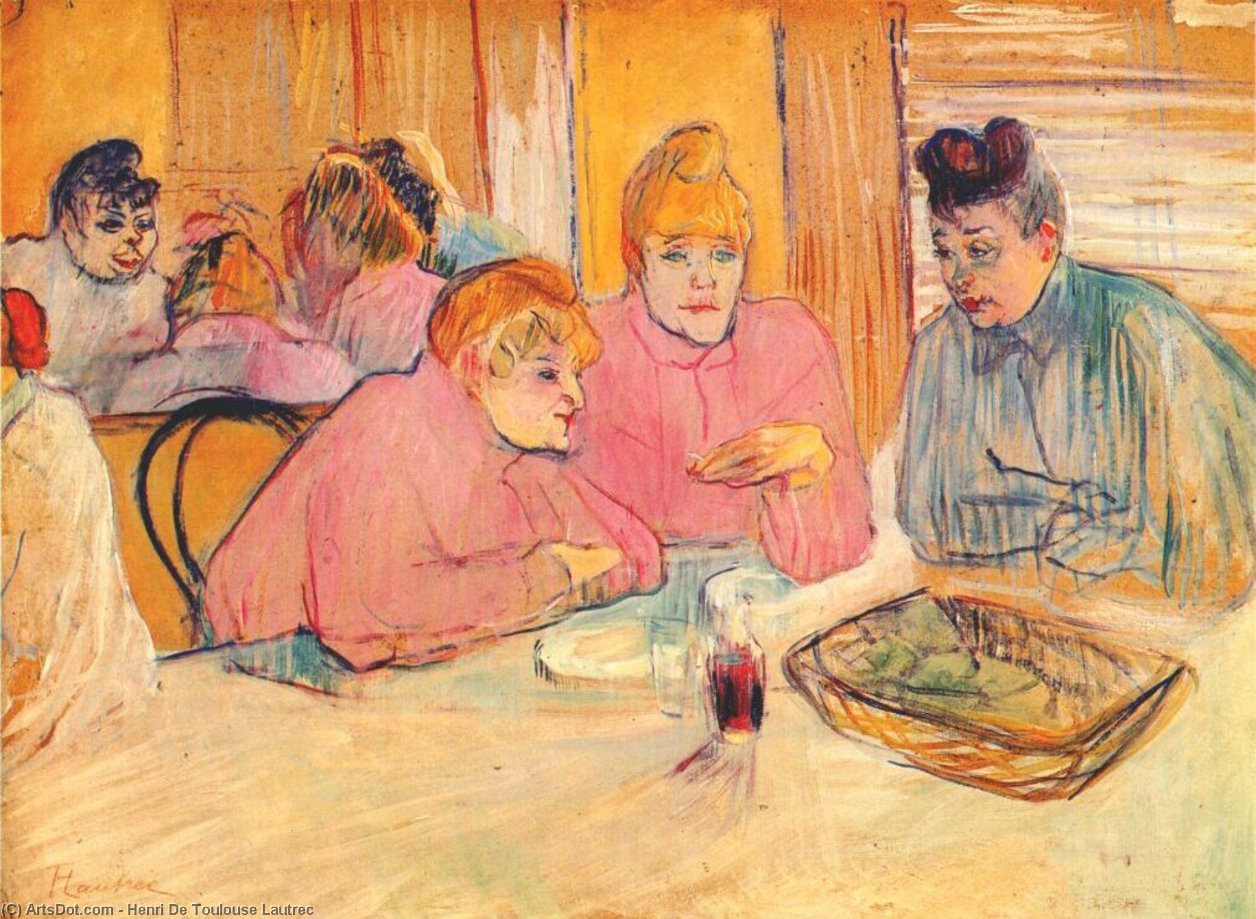 Prostitutes Around a Dinner Table, Oil On Canvas by Henri De Toulouse Lautrec (1864-1901, France)