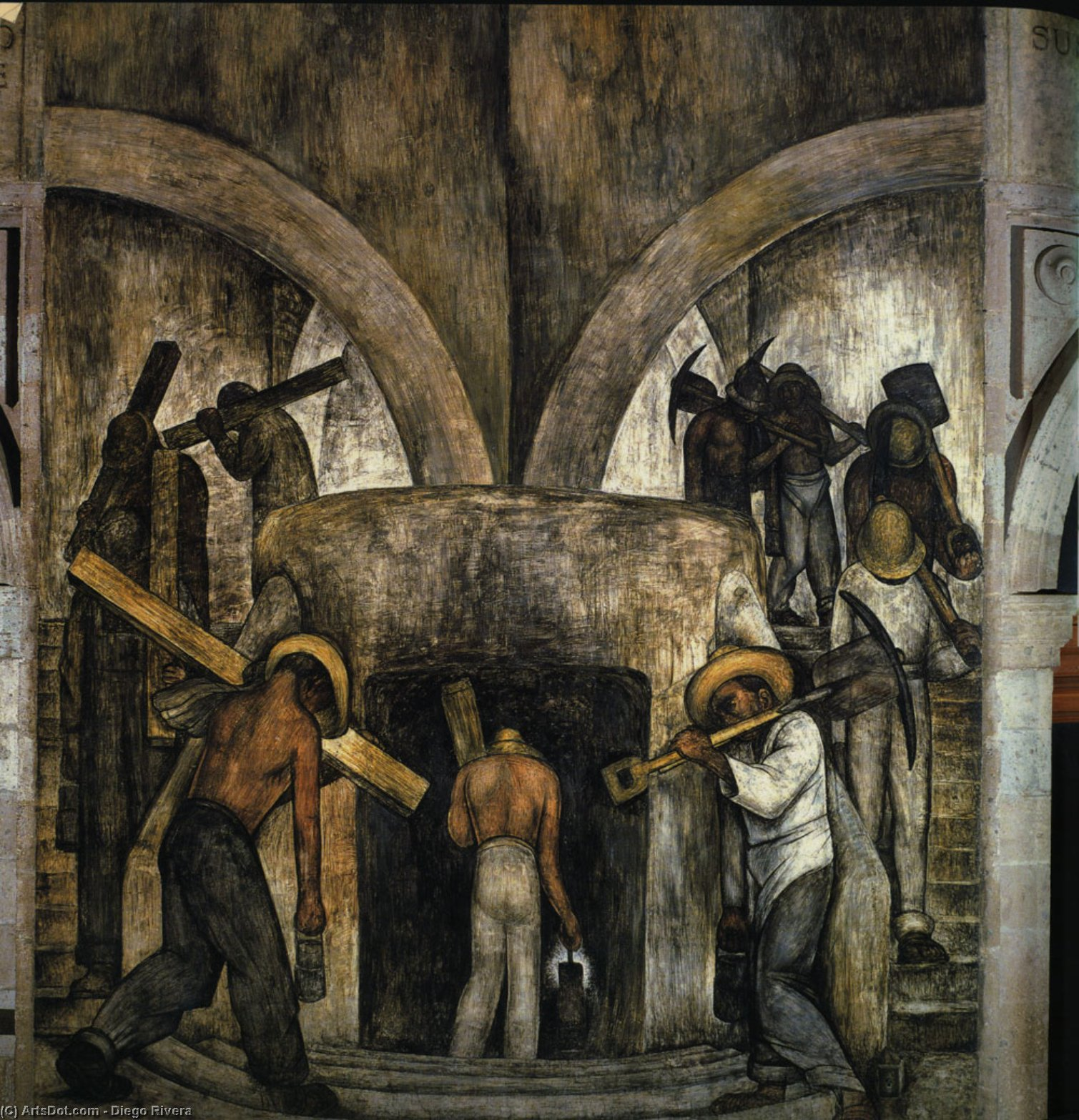 Entering the Mine, Oil by Diego Rivera (1886-1957, Mexico)