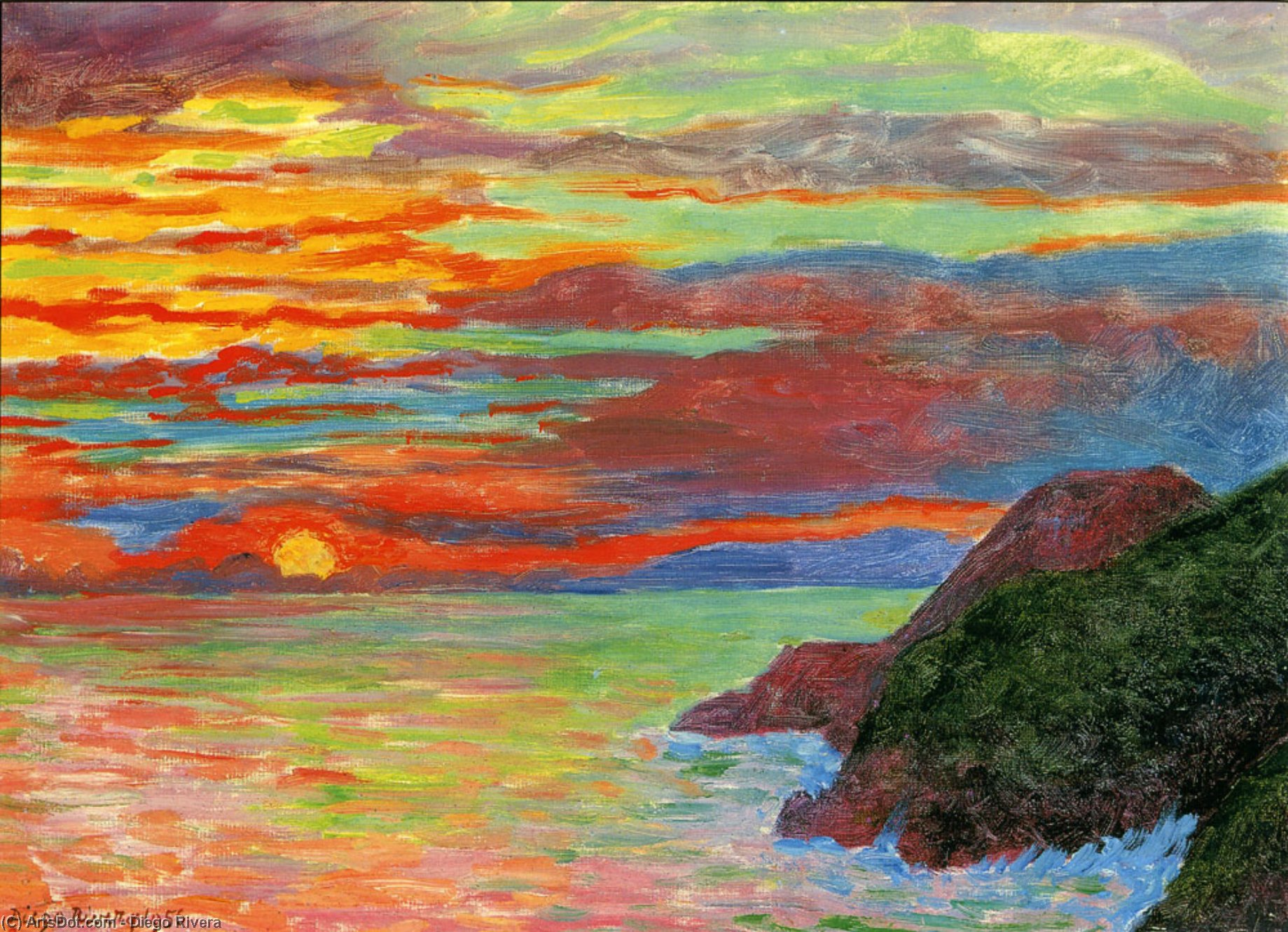 Sunset, Oil by Diego Rivera (1886-1957, Mexico)