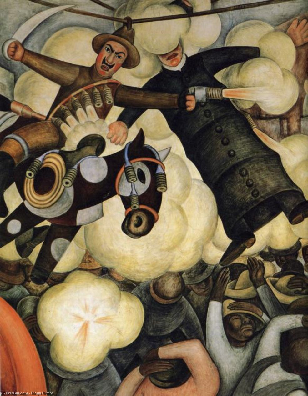 The Burning of the Judases, Oil by Diego Rivera (1886-1957, Mexico)