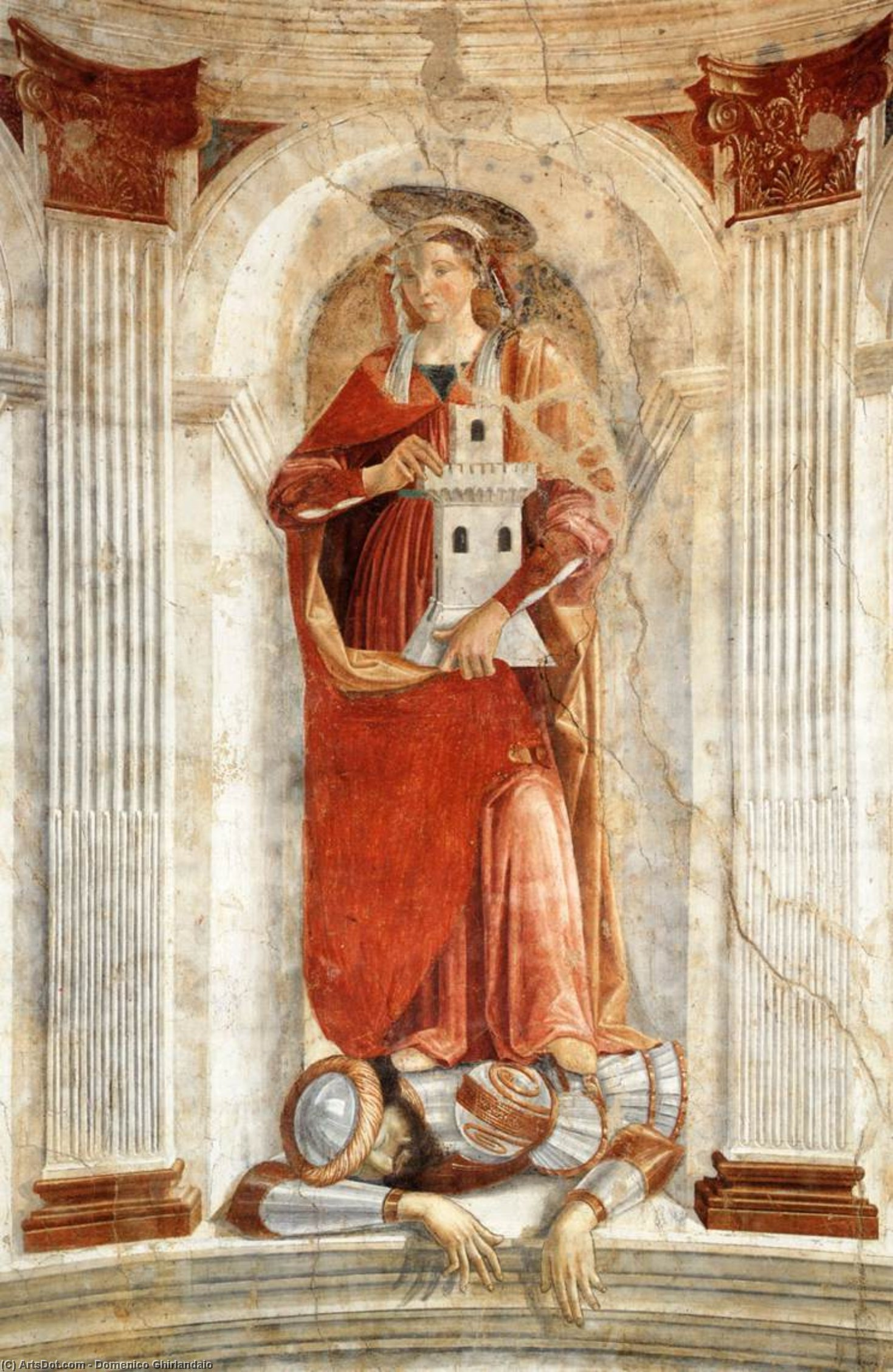 St Barbara, Frescoes by Domenico Ghirlandaio (1449-1494, Italy)