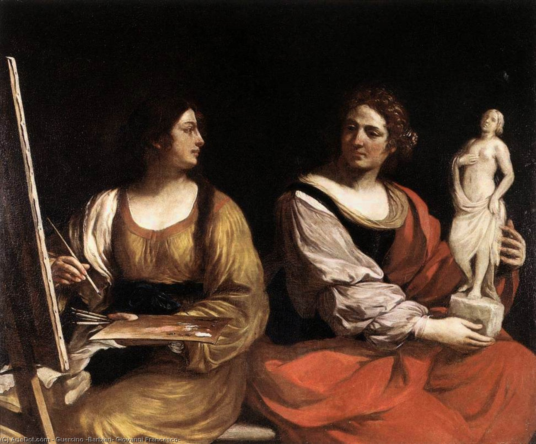 Allegory of Painting and Sculpture, Oil by Guercino (Barbieri, Giovanni Francesco) (1591-1666, Italy)