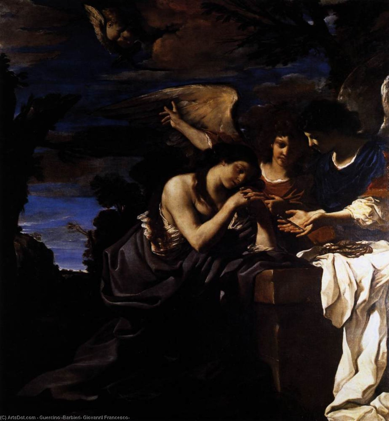 Magdalen and Two Angels, Oil by Guercino (Barbieri, Giovanni Francesco) (1591-1666, Italy)
