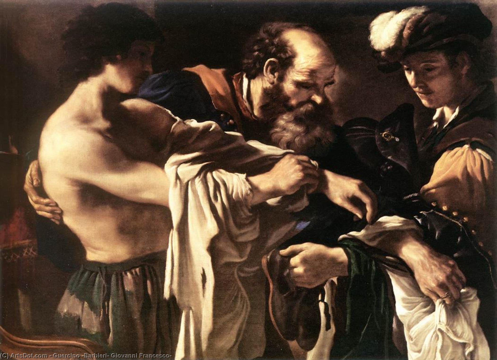 Return of the Prodigal Son, Oil by Guercino (Barbieri, Giovanni Francesco) (1591-1666, Italy)