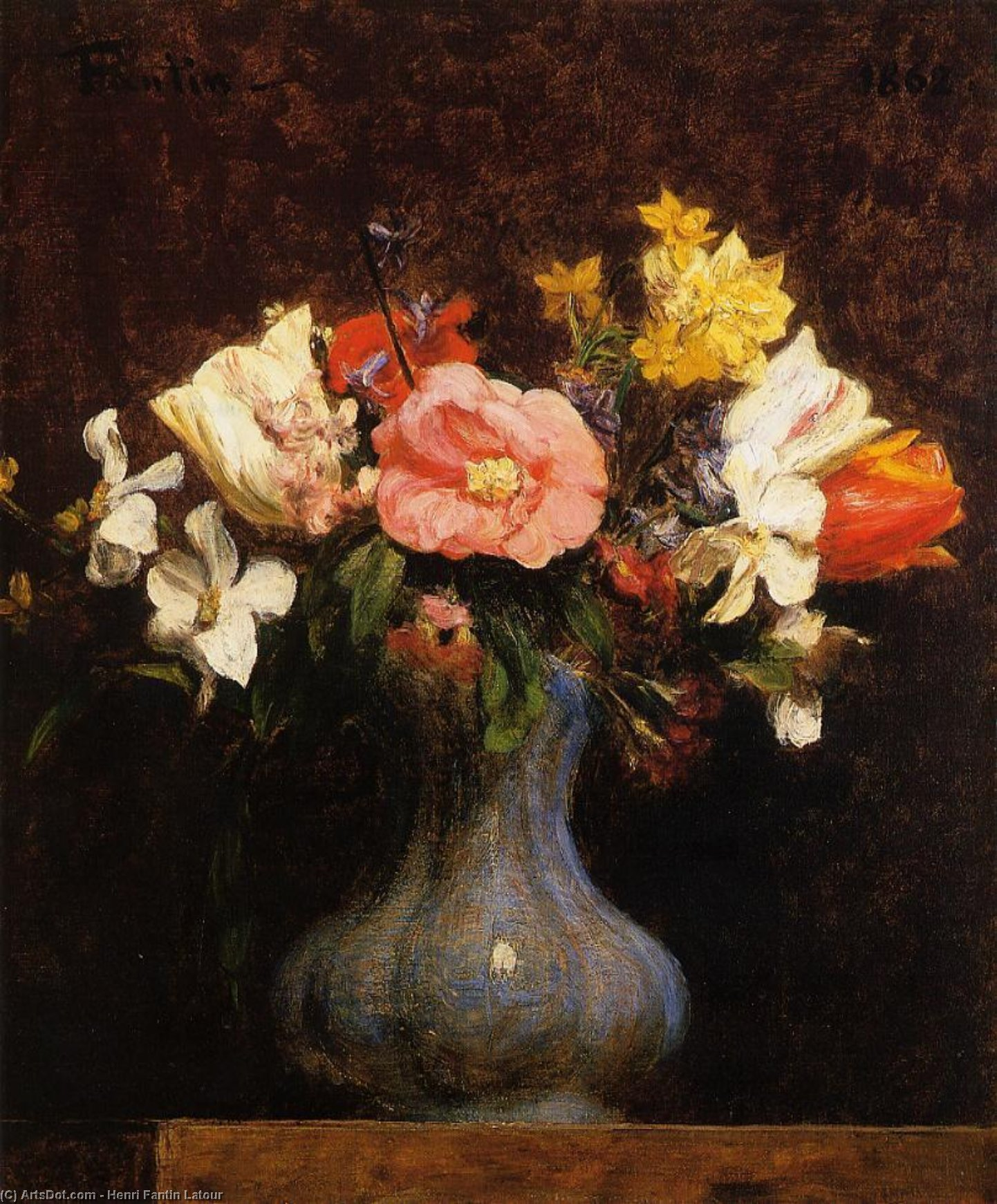 Flowers, Camelias and Tulips, Oil by Henri Fantin Latour (1836-1904, France)