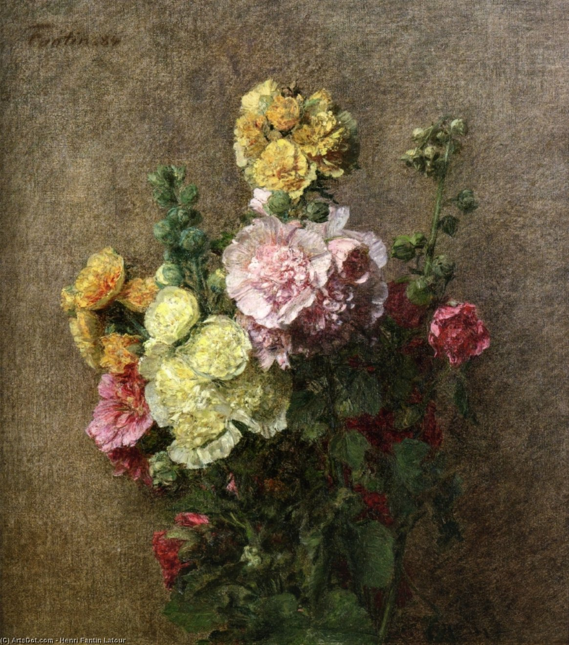 Hollyhocks without Vase, Oil by Henri Fantin Latour (1836-1904, France)