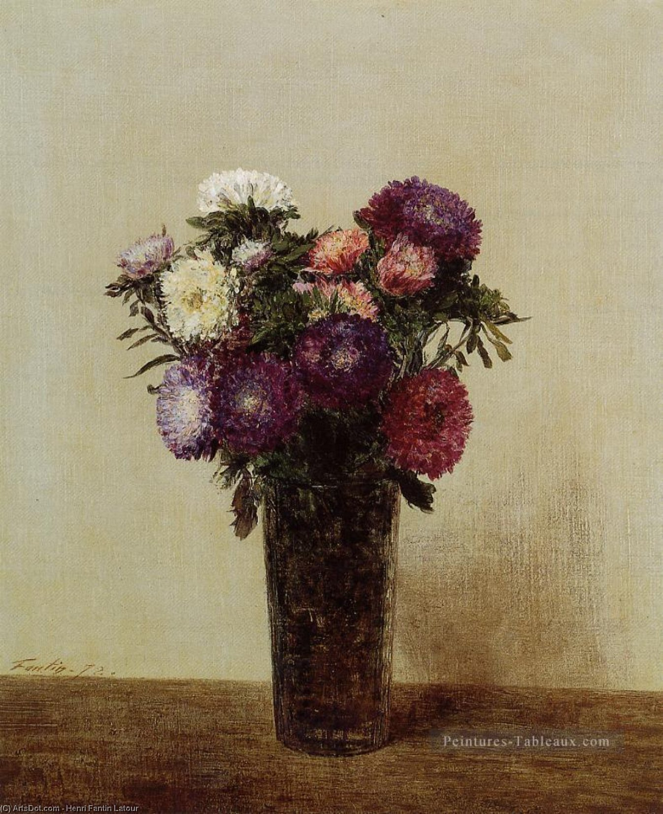 Vase of Flowers. Queens Daisies, Oil by Henri Fantin Latour (1836-1904, France)