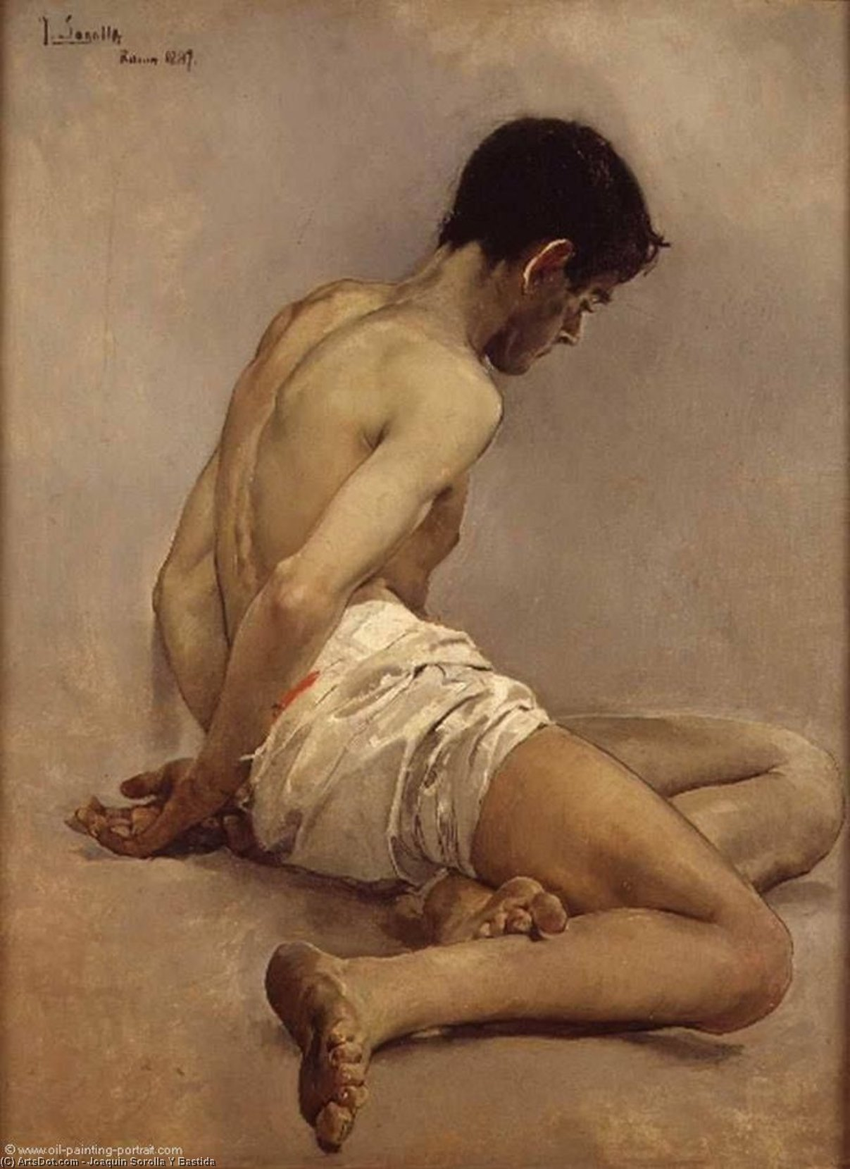 Academic Life Study, Oil by Joaquin Sorolla Y Bastida (1863-1923, Spain)