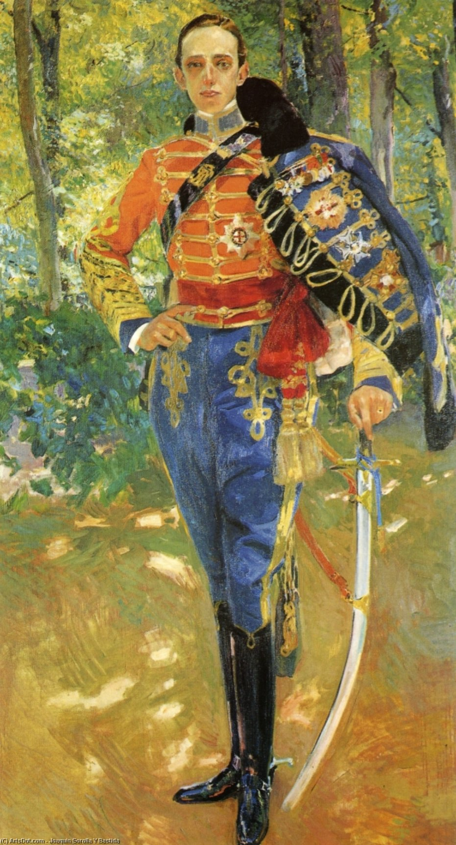 Alphonso XIII in Hussars Uniform, Oil by Joaquin Sorolla Y Bastida (1863-1923, Spain)