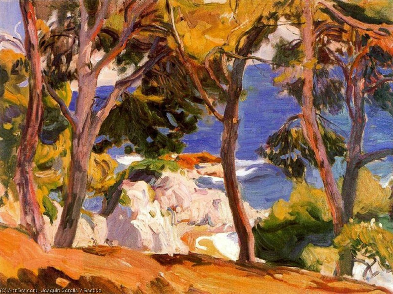 Coast at Santa Cristina, Oil On Canvas by Joaquin Sorolla Y Bastida (1863-1923, Spain)