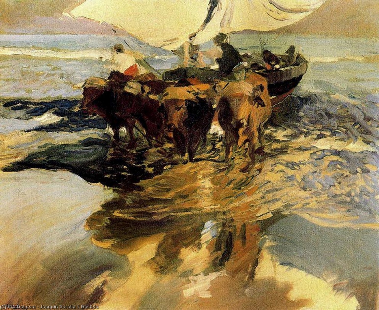 In Hope of the Fishing, Oil On Panel by Joaquin Sorolla Y Bastida (1863-1923, Spain)
