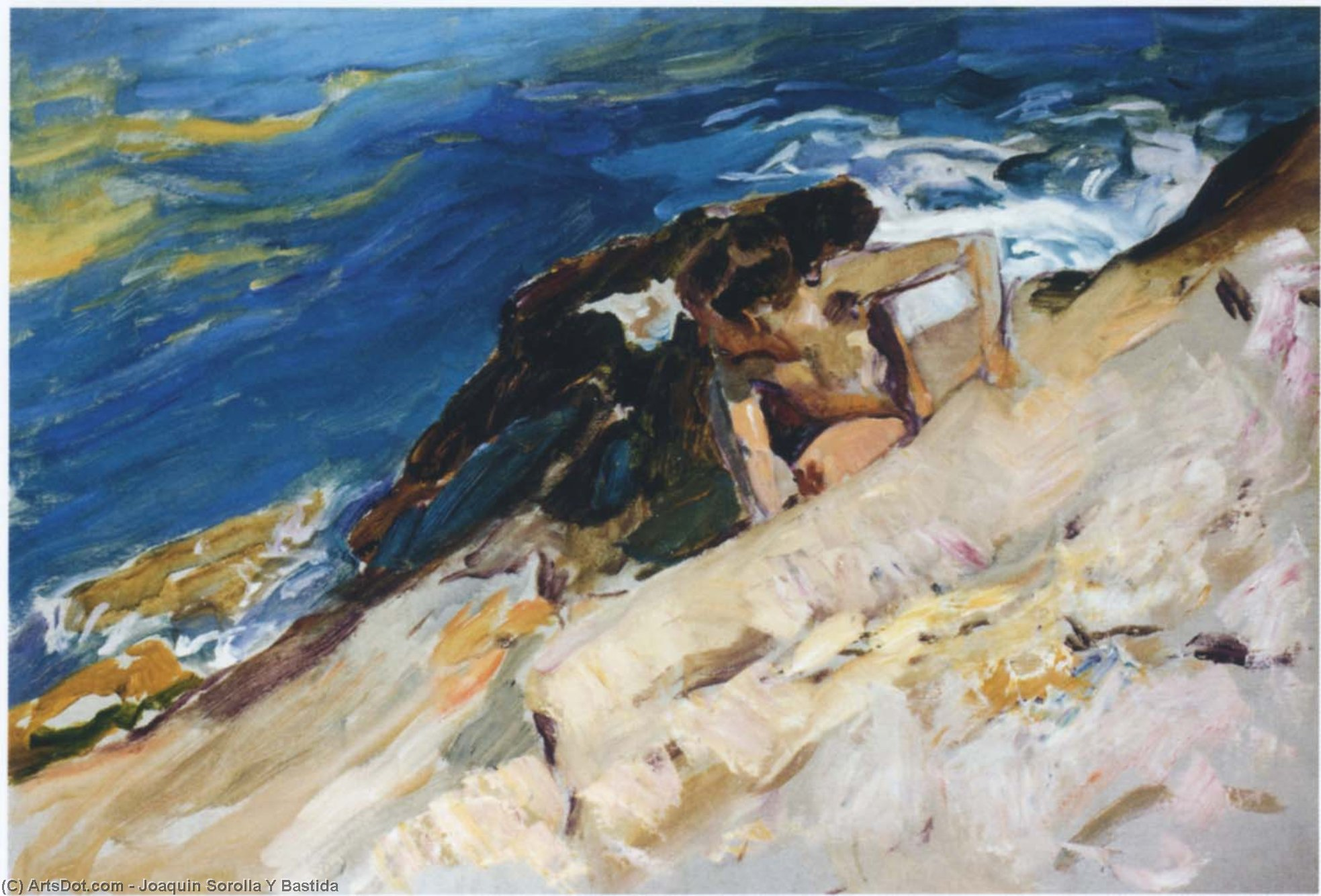 Looking for Crabs among the Rocks, Javea, Oil On Canvas by Joaquin Sorolla Y Bastida (1863-1923, Spain)