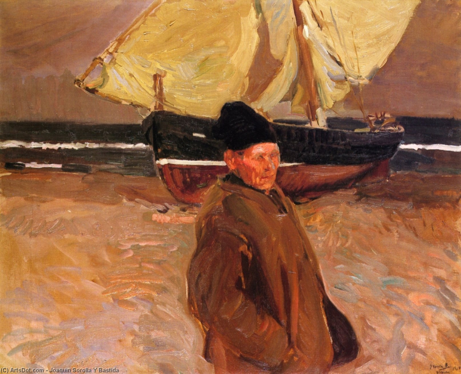 Old Valencian Fisherman, Oil On Canvas by Joaquin Sorolla Y Bastida (1863-1923, Spain)
