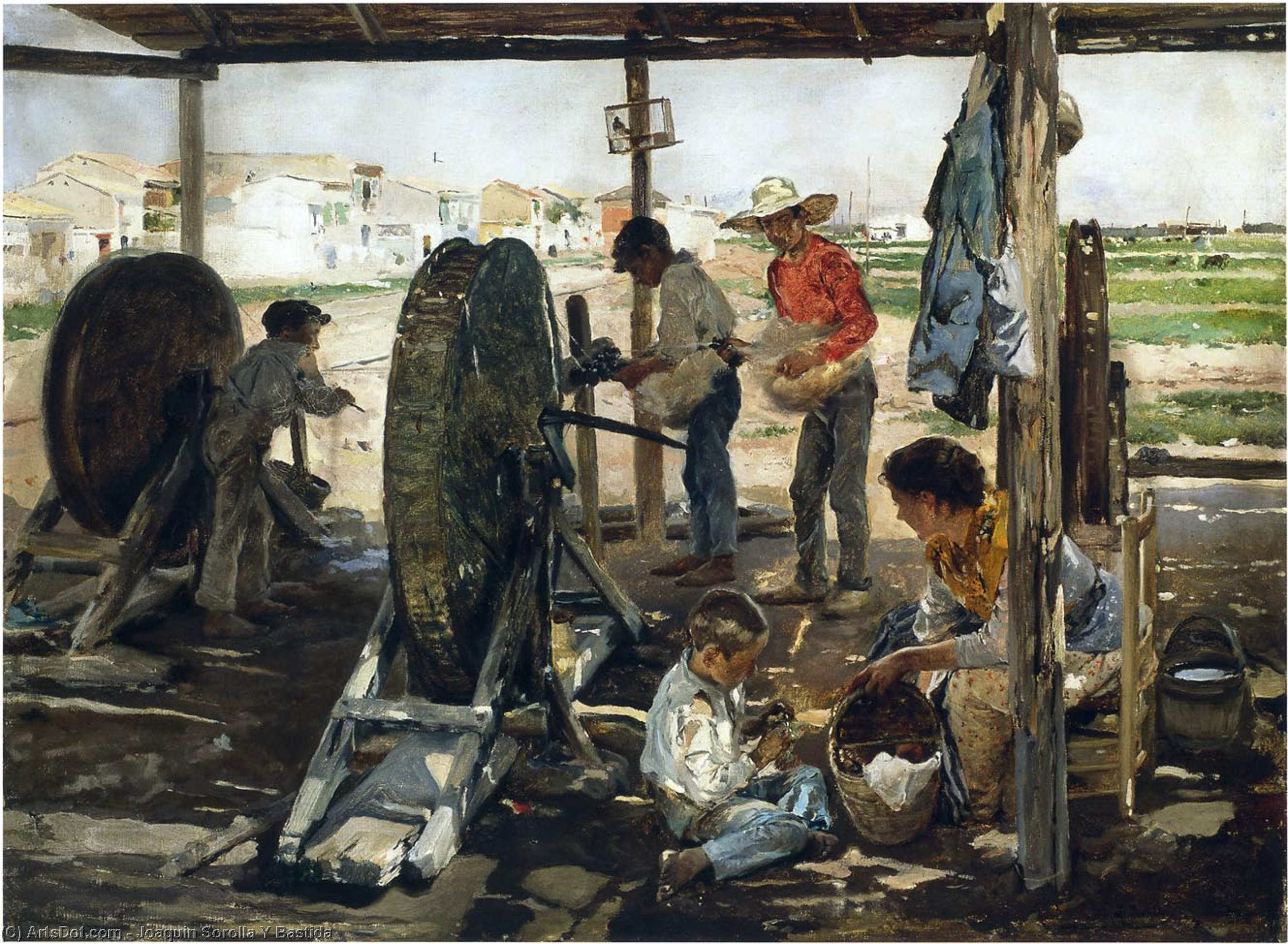 Ropemakers, Oil On Canvas by Joaquin Sorolla Y Bastida (1863-1923, Spain)