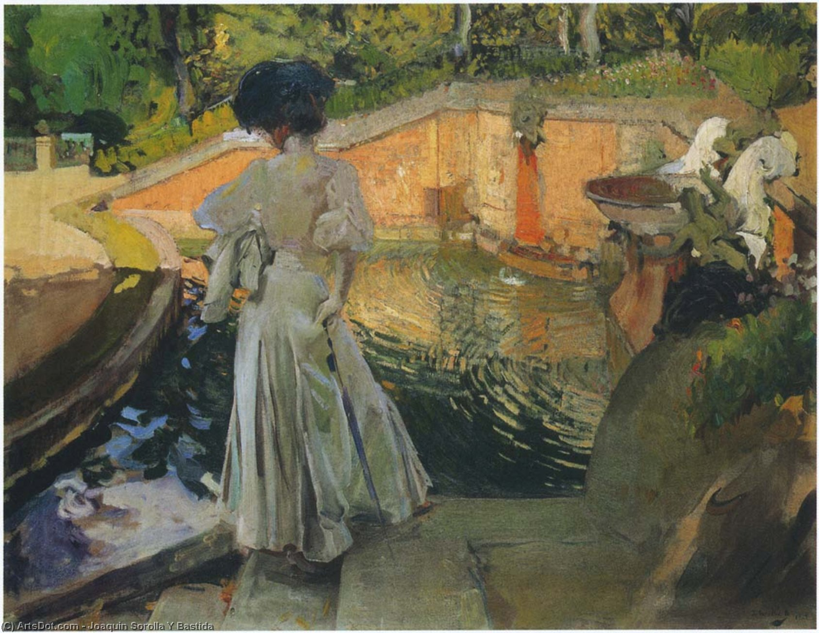 Watching the Fish, Oil On Canvas by Joaquin Sorolla Y Bastida (1863-1923, Spain)