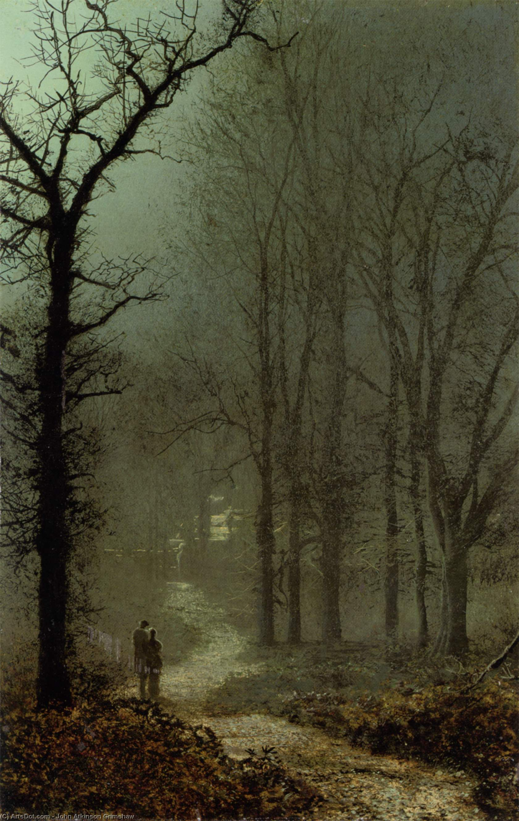 Lovers in a wood, 1873 by John Atkinson Grimshaw (1836-1893, United Kingdom) | Art Reproduction | ArtsDot.com