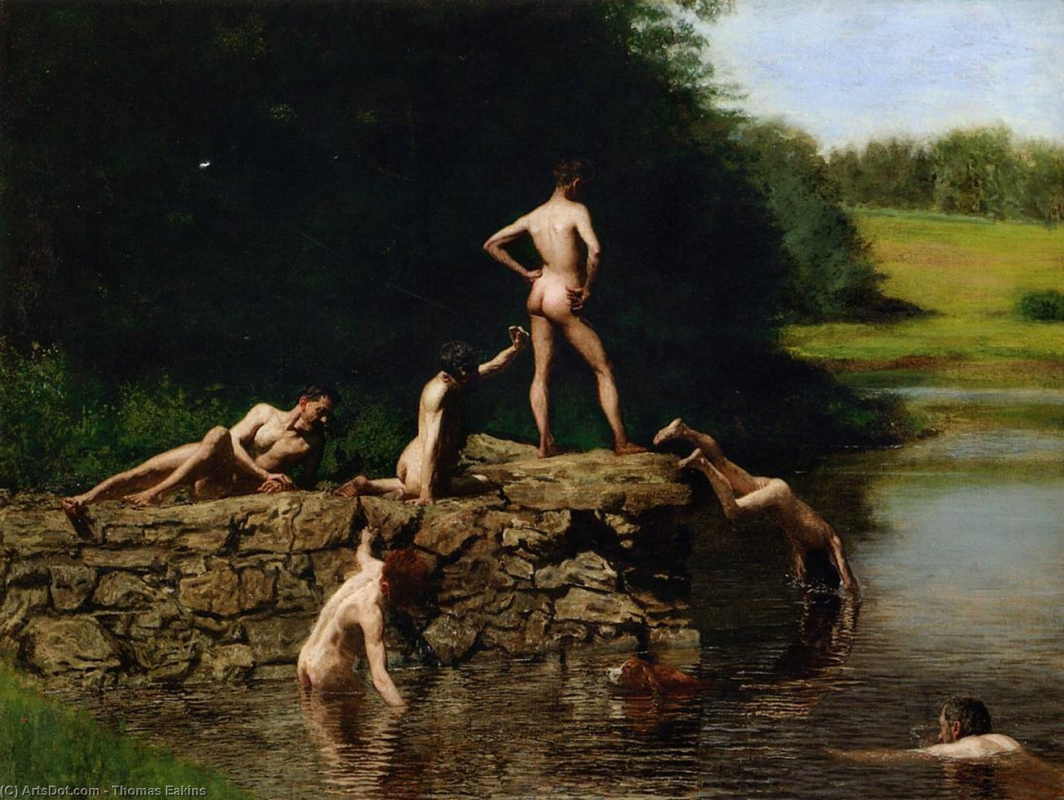 Swimming, 1884 by Thomas Eakins (1844-1916, United States) | Paintings Reproductions Thomas Eakins | ArtsDot.com