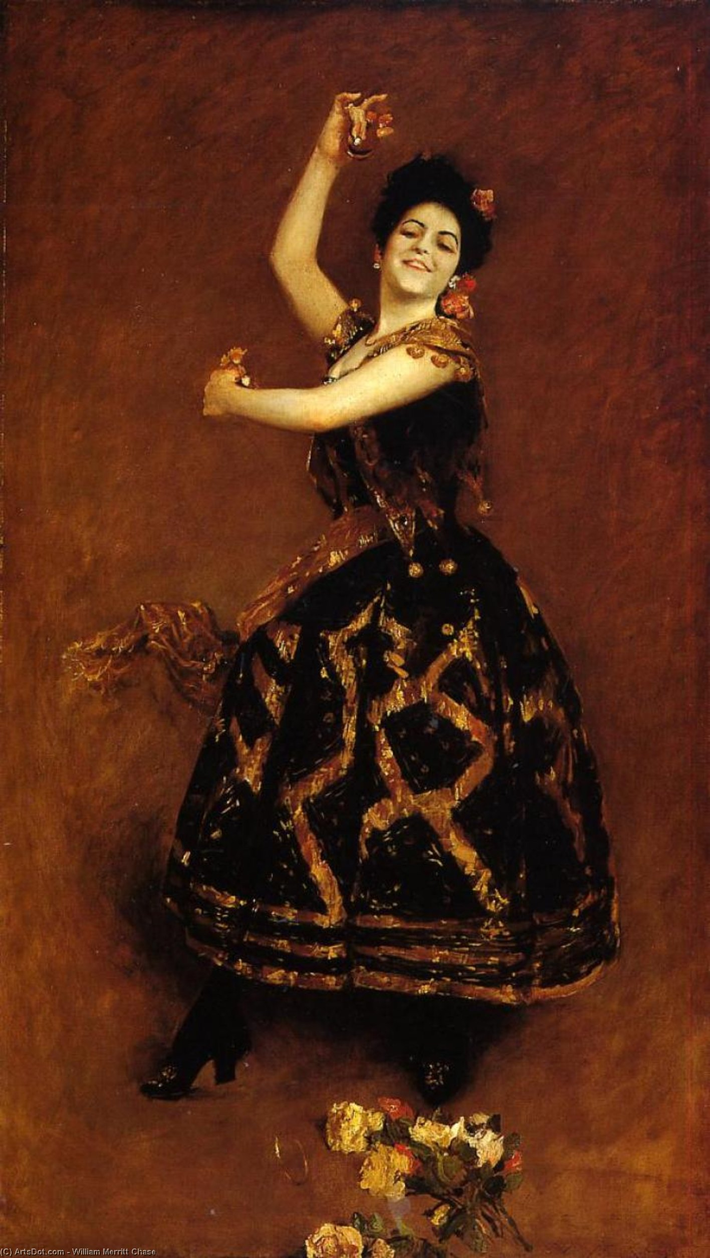 Carmencita, Oil On Canvas by William Merritt Chase (1849-1916, United States)
