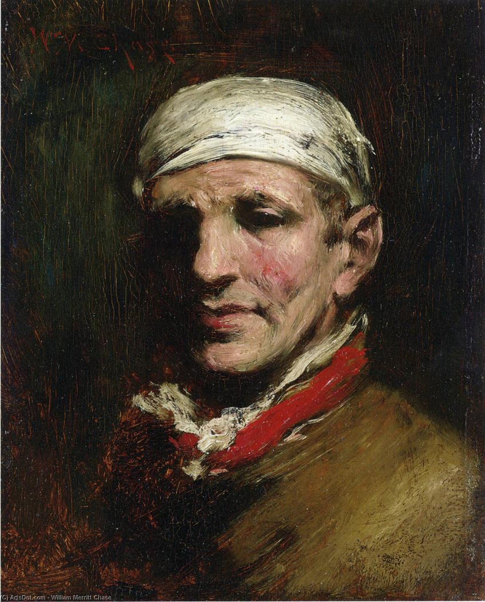 Man with Bandana, Oil On Panel by William Merritt Chase (1849-1916, United States)